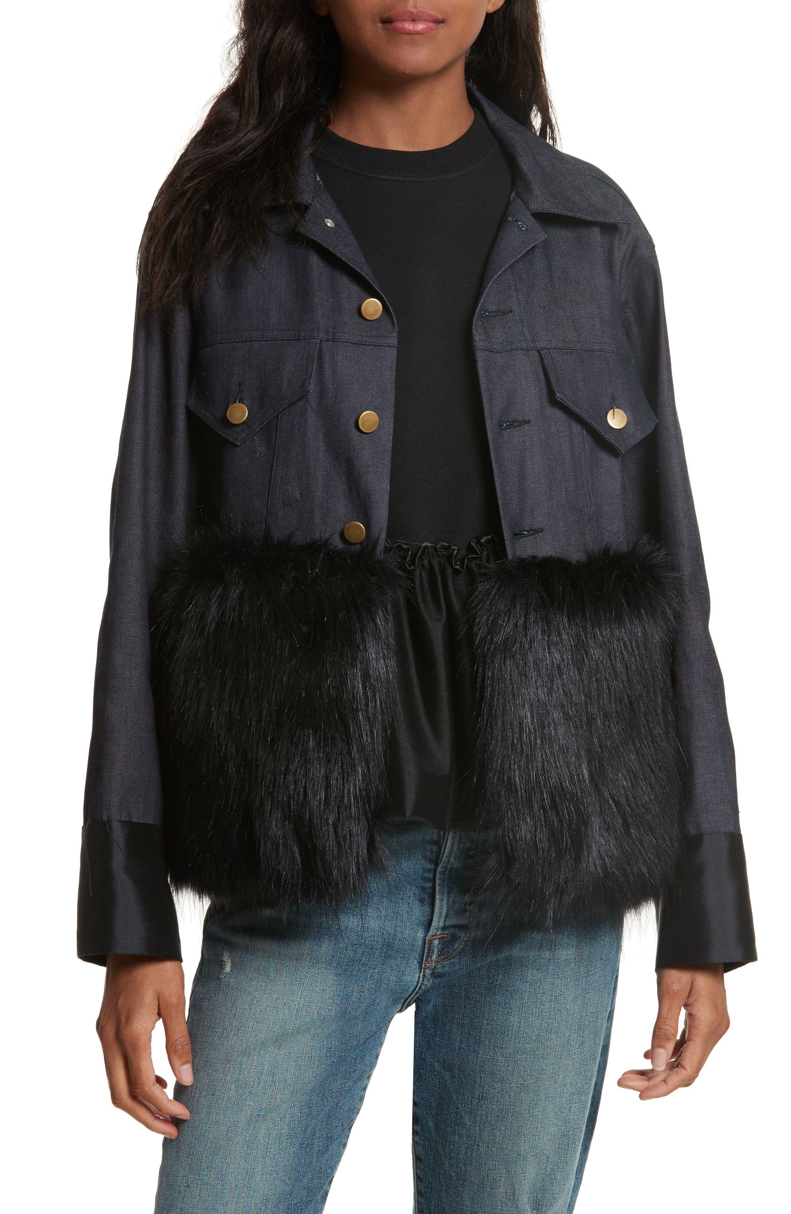 Harvey Faircloth Denim Jacket with Faux Fur Trim