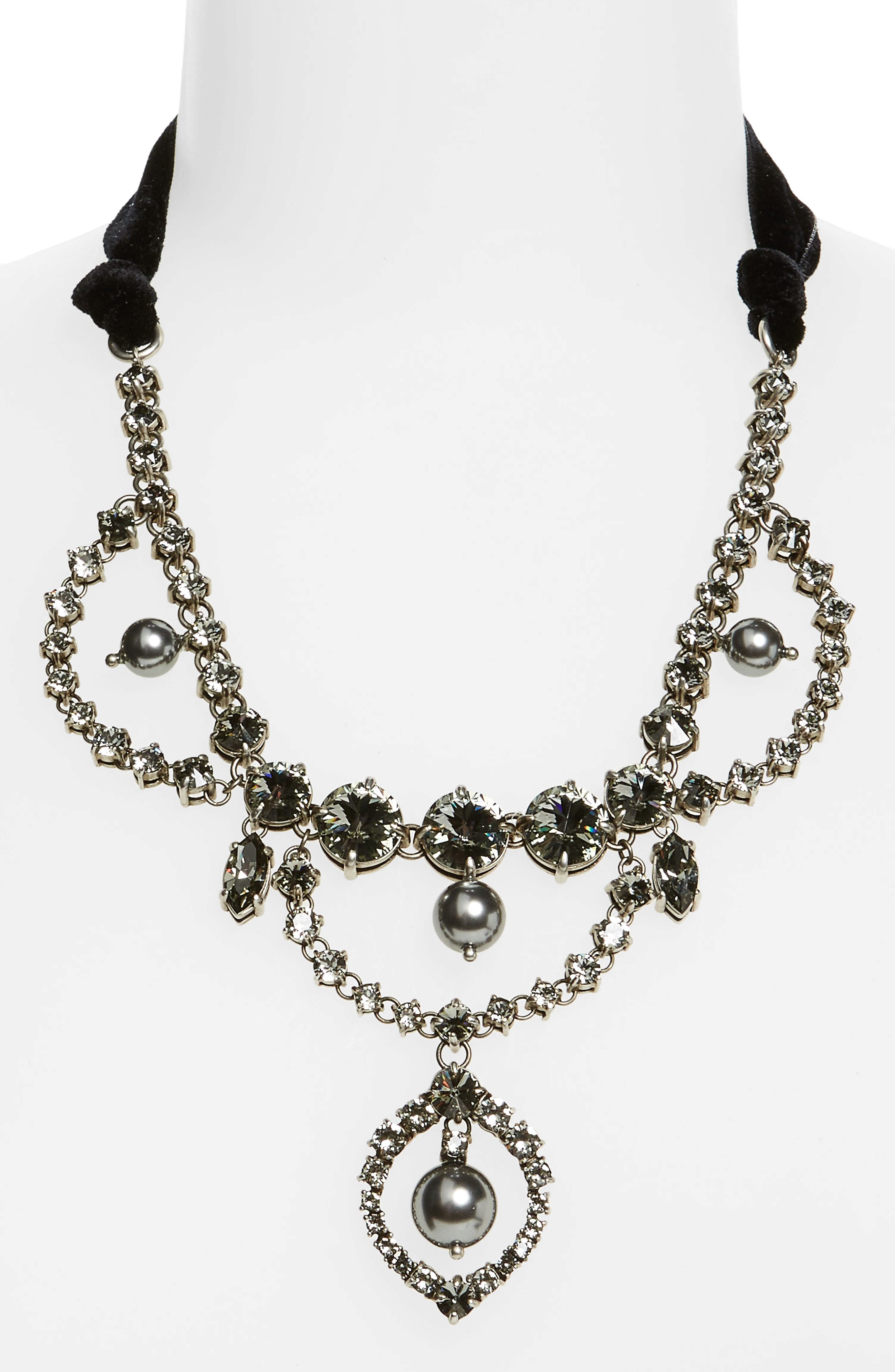 Fume Imitation Pearl & Ribbon Statement Necklace,                             Alternate thumbnail 2, color,                             Dark Grey
