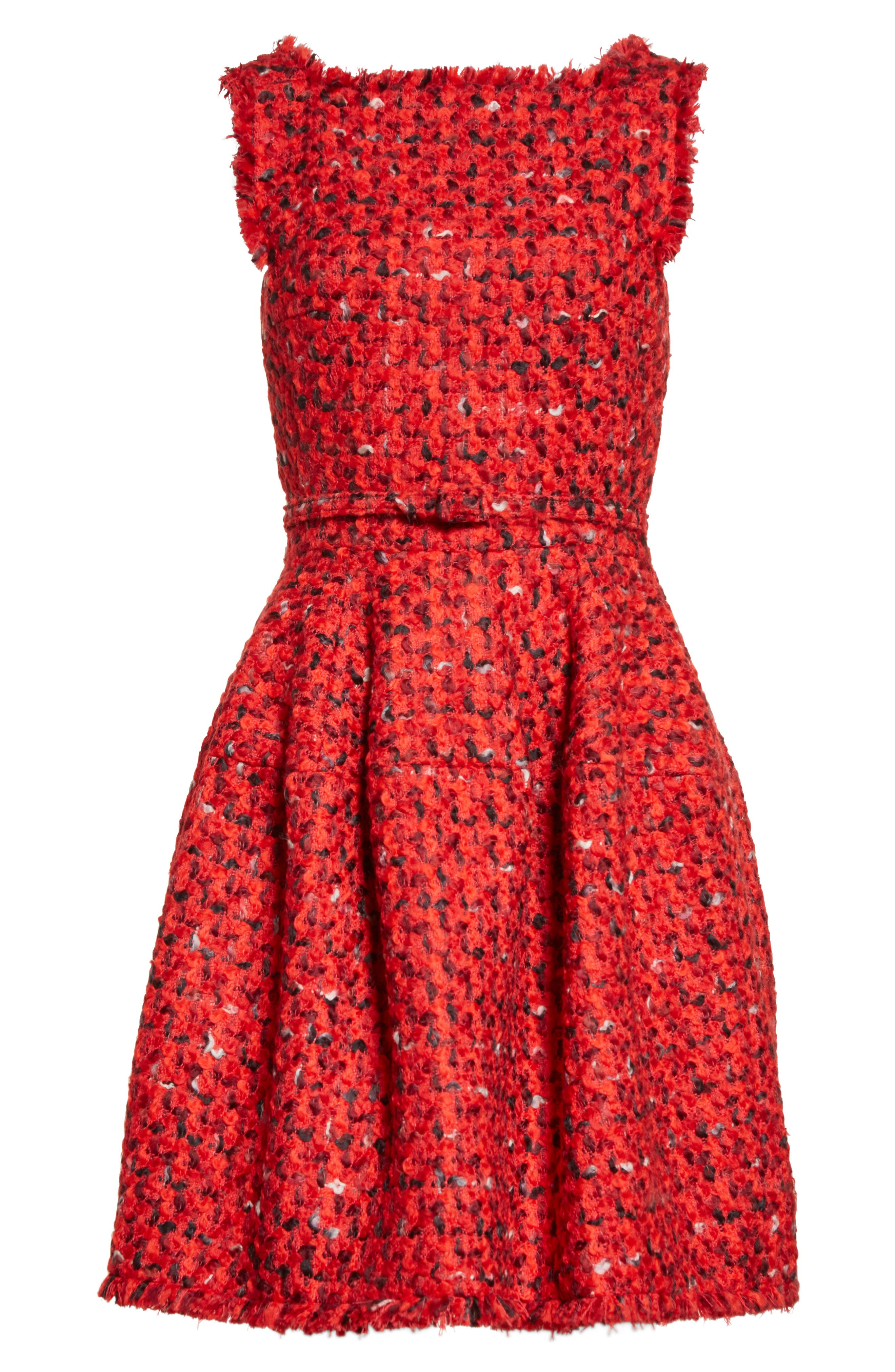 Belted Tweed Dress,                             Alternate thumbnail 4, color,                             Red Multi
