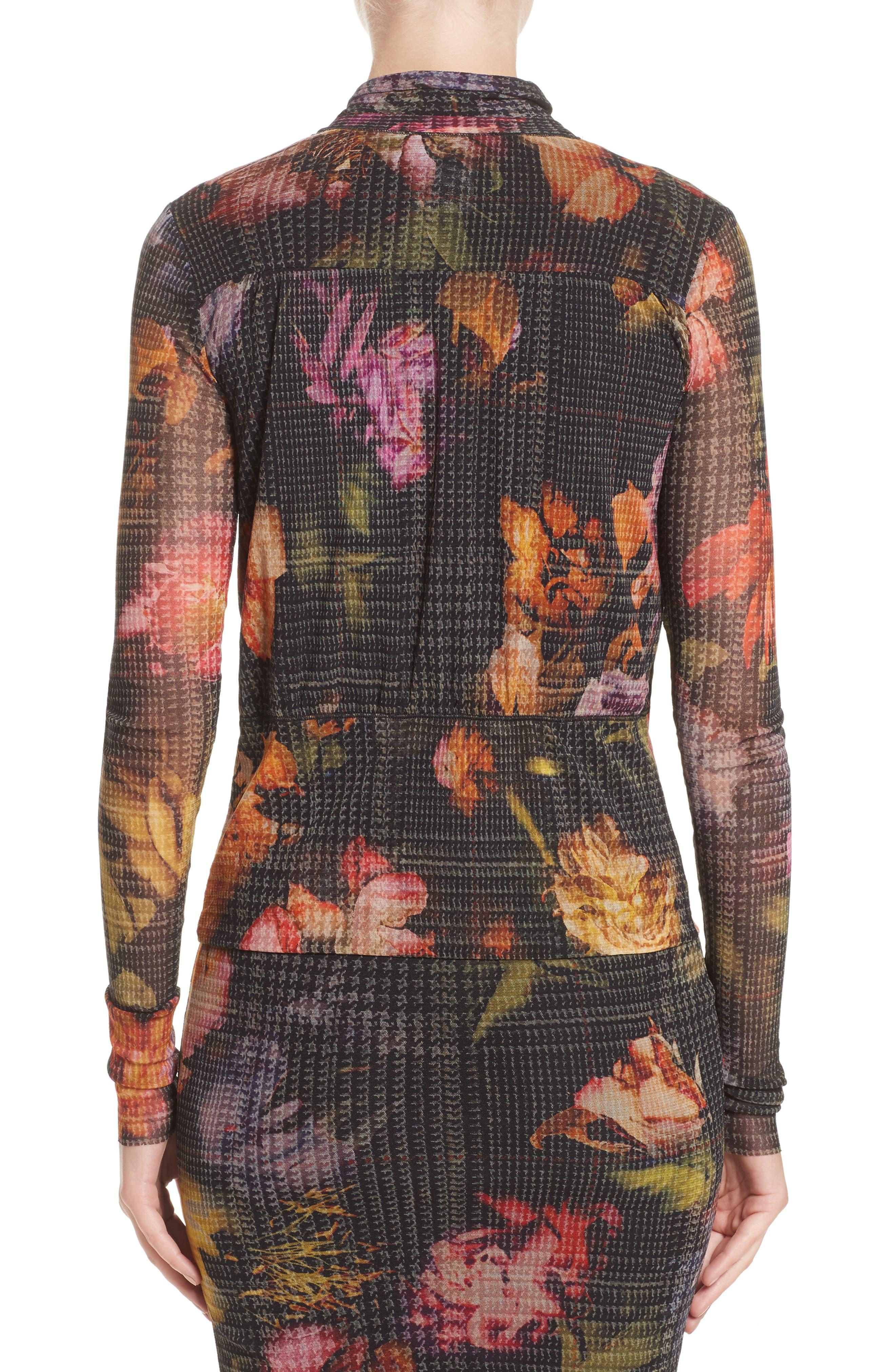 Alternate Image 2  - Fuzzi Velvet Trim Print Tulle Cardigan