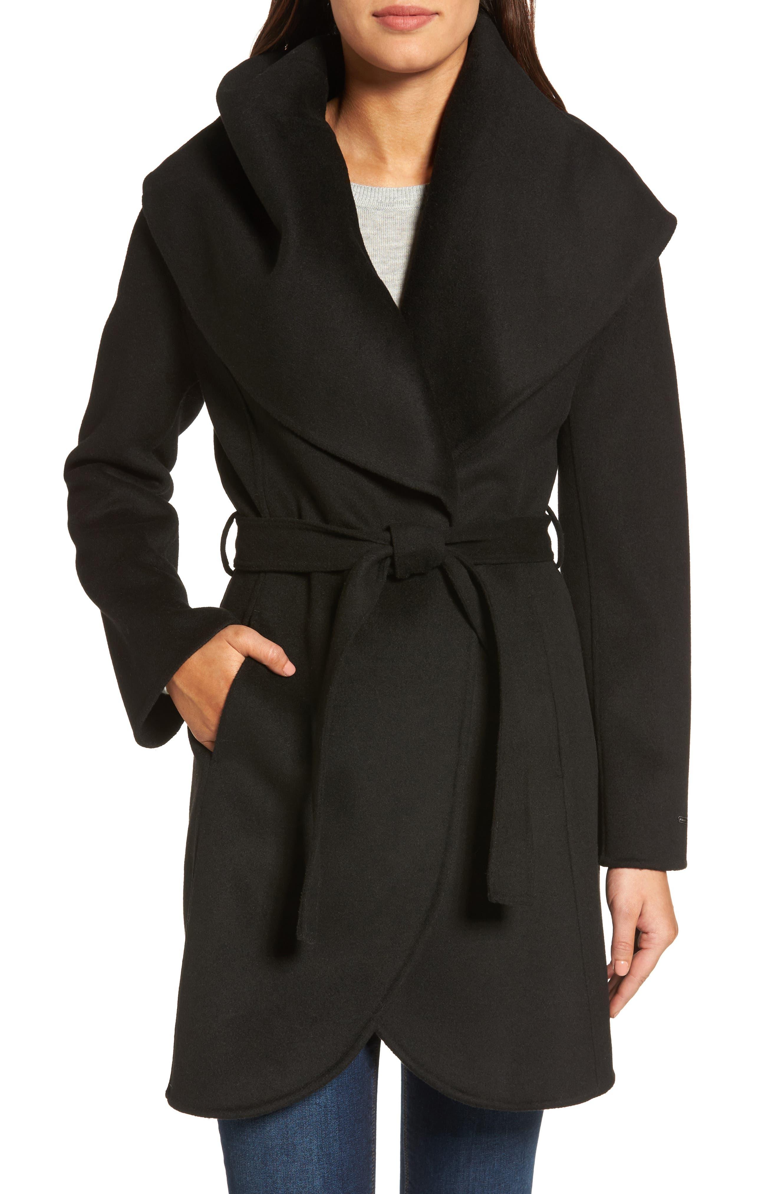 Tahari Marla Double Face Wool Blend Wrap Coat