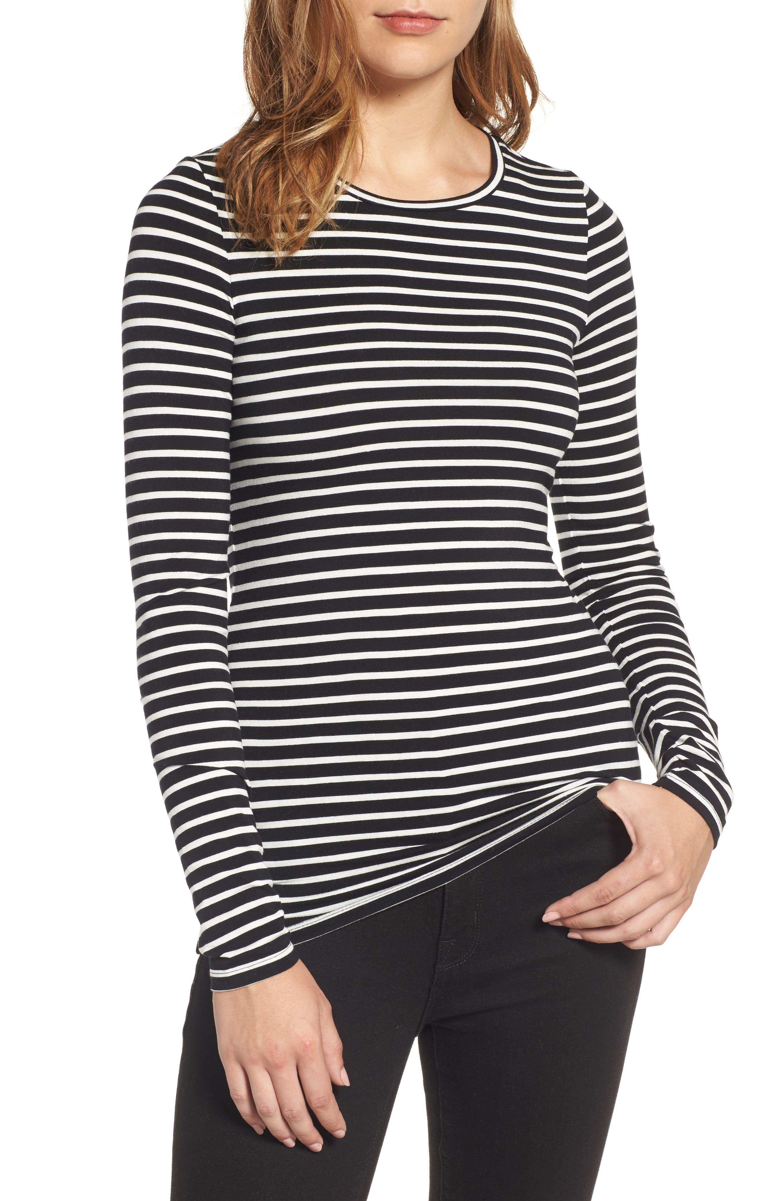 Long Sleeve Modal Blend Tee,                         Main,                         color, Black - Ivory Stripe