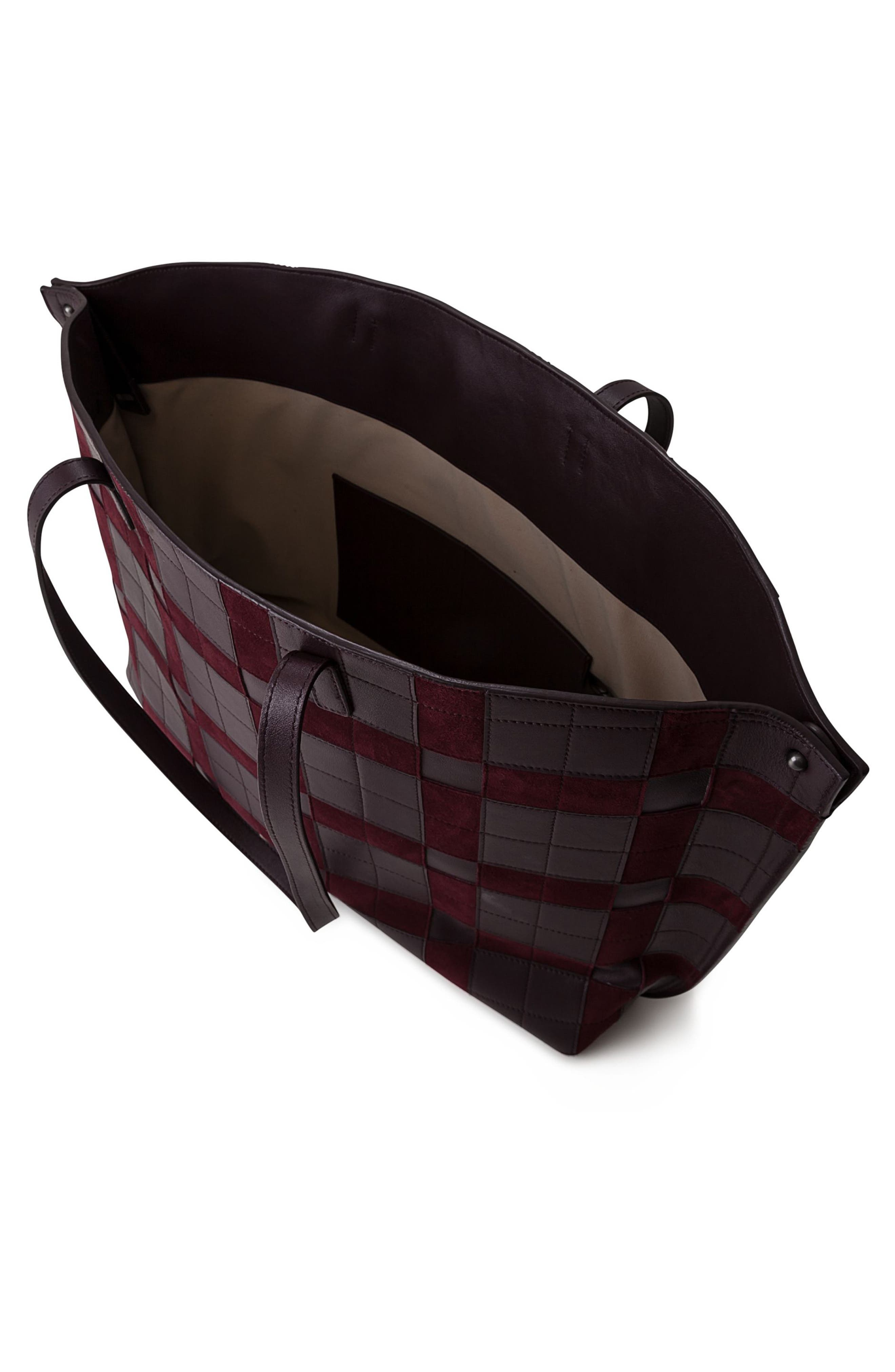 Medium AI Leather Shoulder Tote,                             Alternate thumbnail 3, color,                             Burgundy