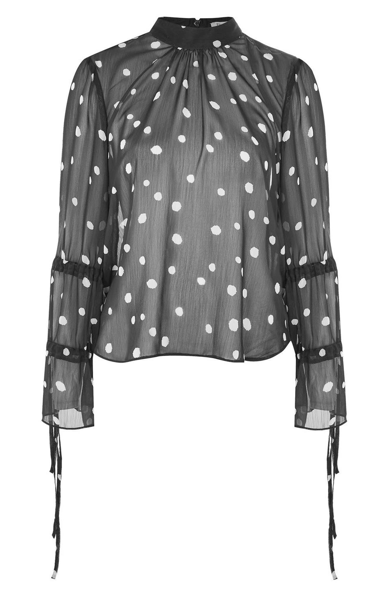 Alternate Image 3  - Topshop Drawstring Sleeve Sheer Dot Blouse