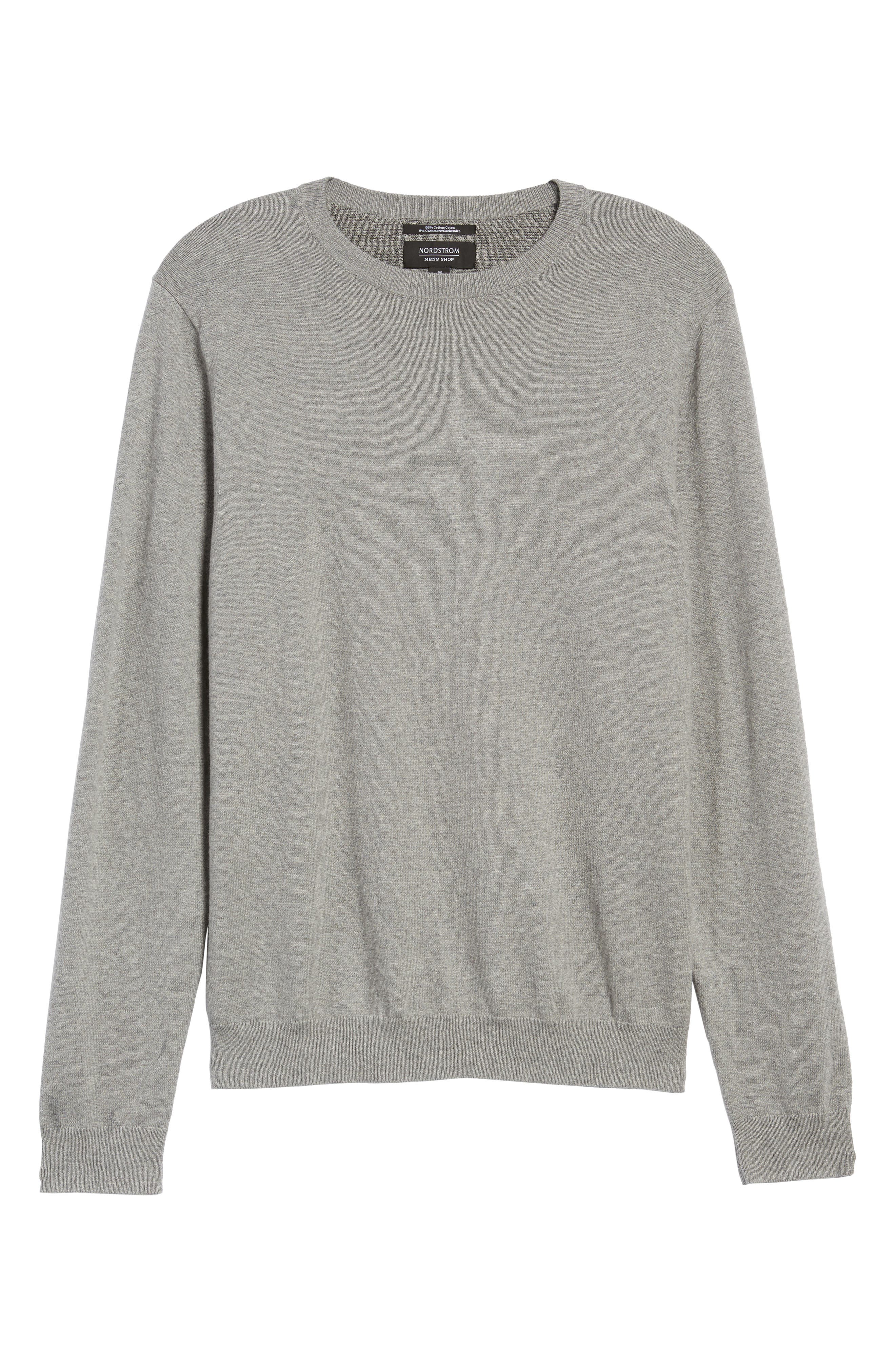Alternate Image 6  - Nordstrom Men's Shop Cotton & Cashmere Crewneck Sweater (Regular & Tall)