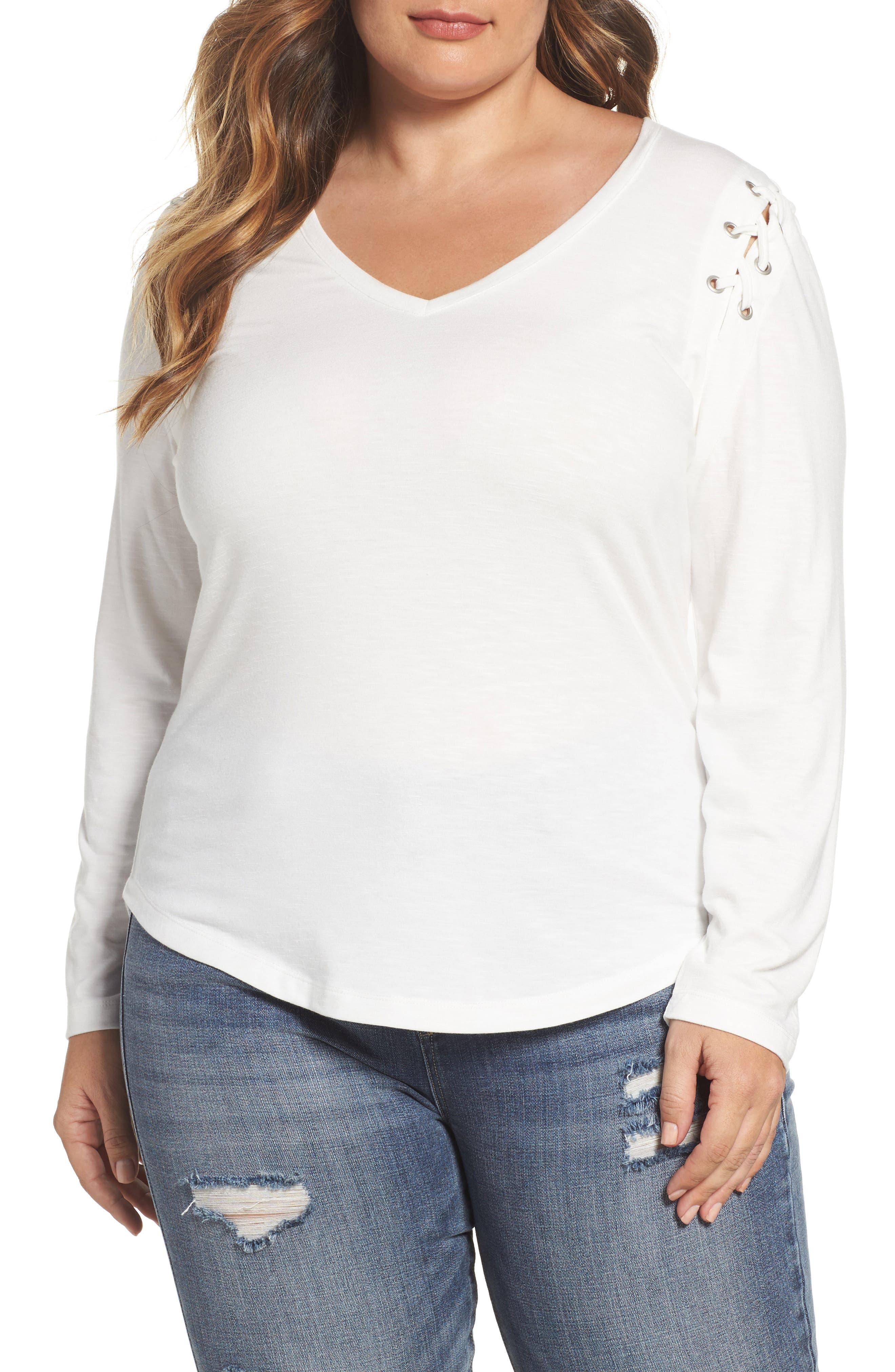 Lace-Up Shoulder Fitted Tee,                         Main,                         color, Blanc