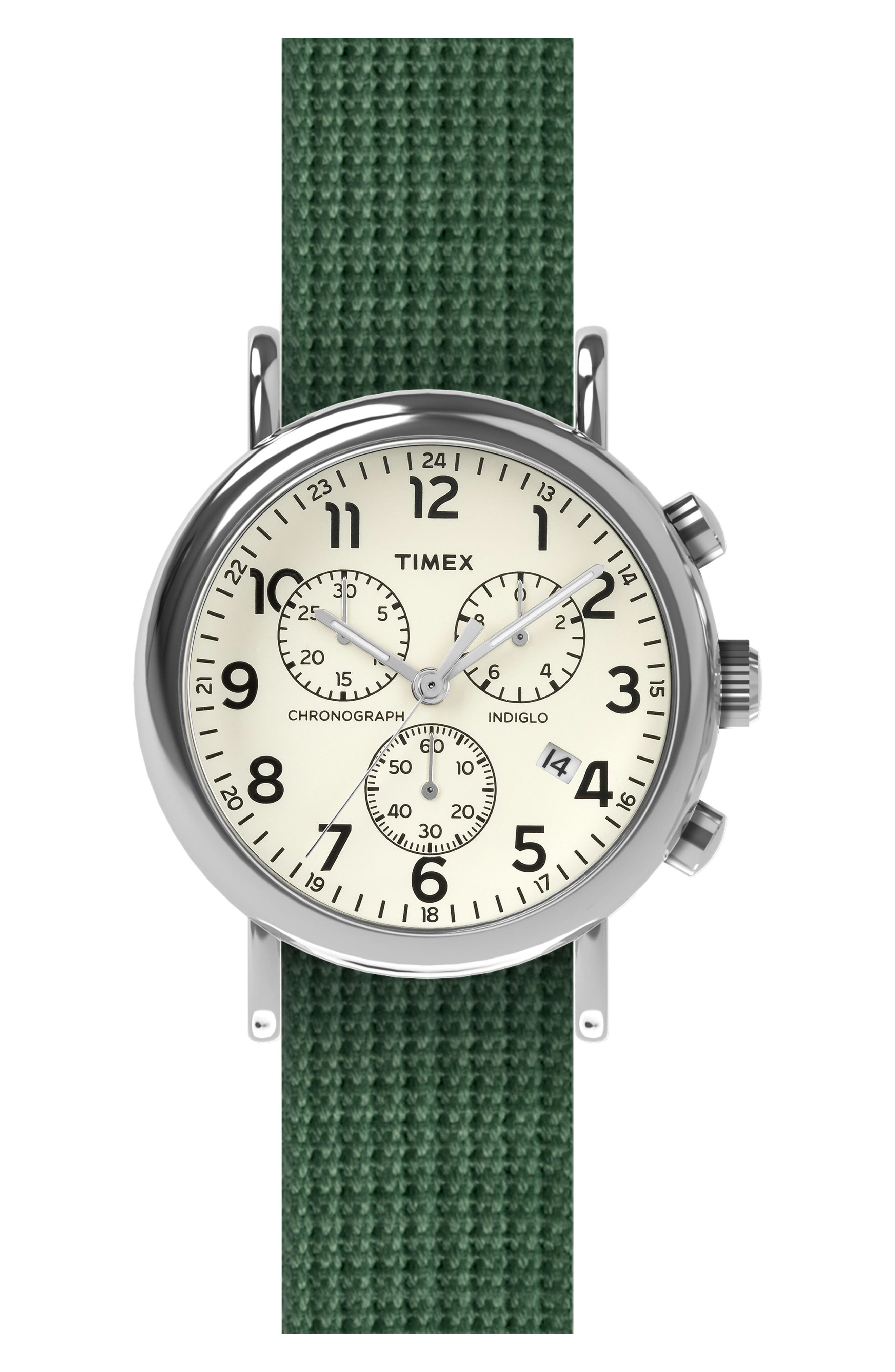 Timex<sup>®</sup> Chronograph Fabric Strap Watch, 40mm,                         Main,                         color, Cream/ Green Dartmouth