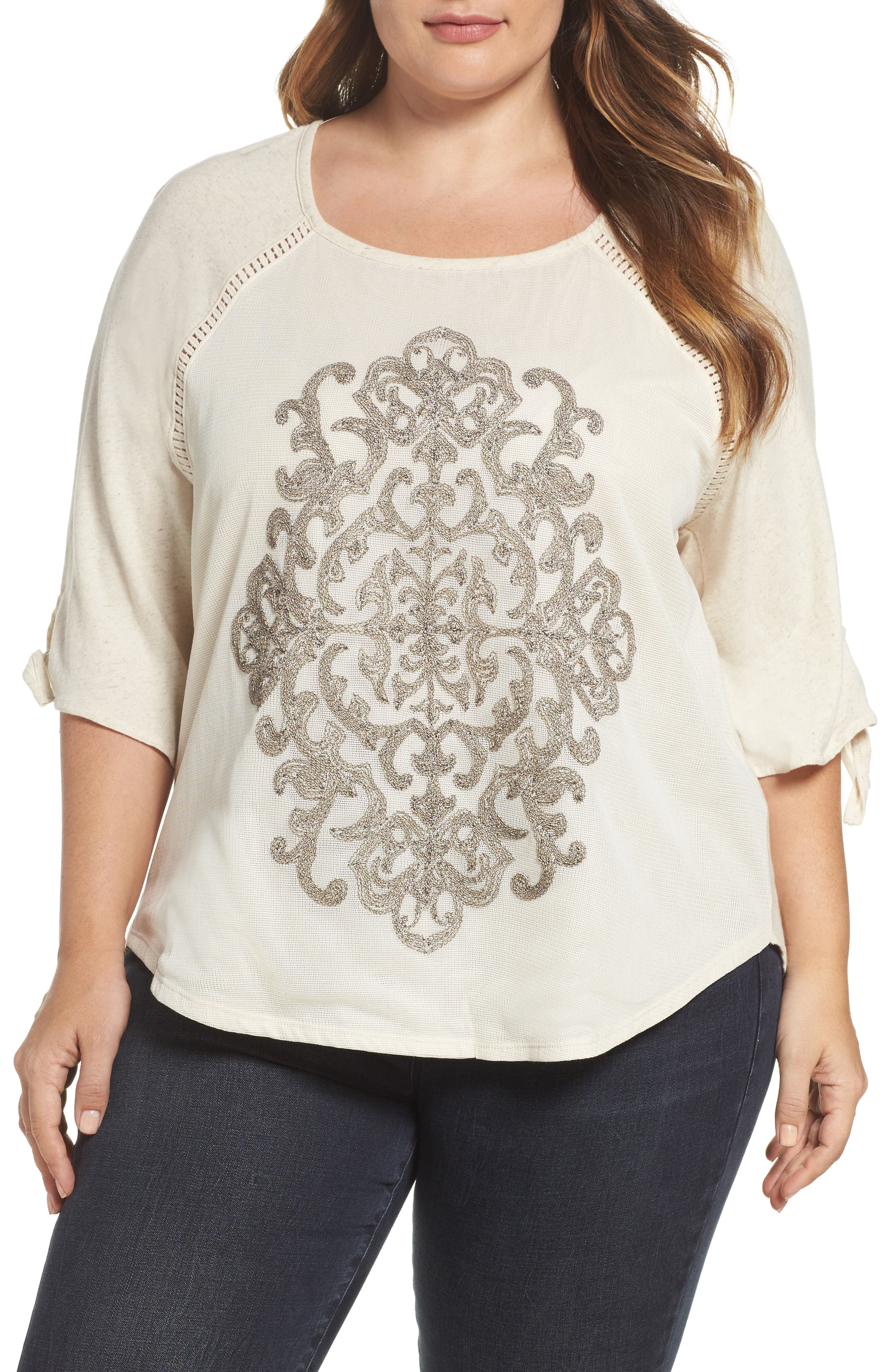 Wit & Wisdom Tie Sleeve Embroidered Top (Plus Size) (Nordstrom Exclusive)