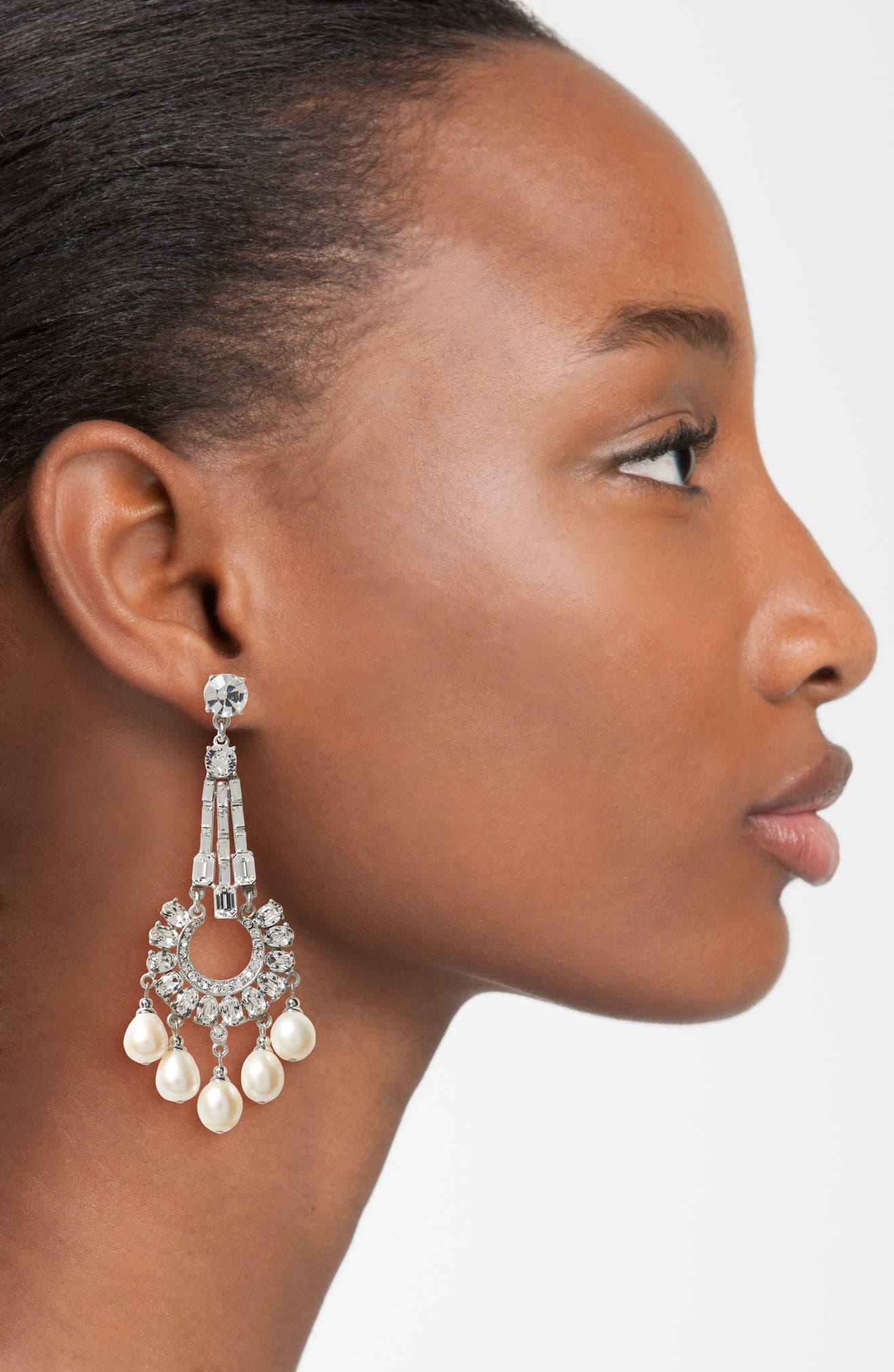 Imitation Pearl & Crystal Drop Earrings,                             Alternate thumbnail 2, color,                             Ivory / Silver