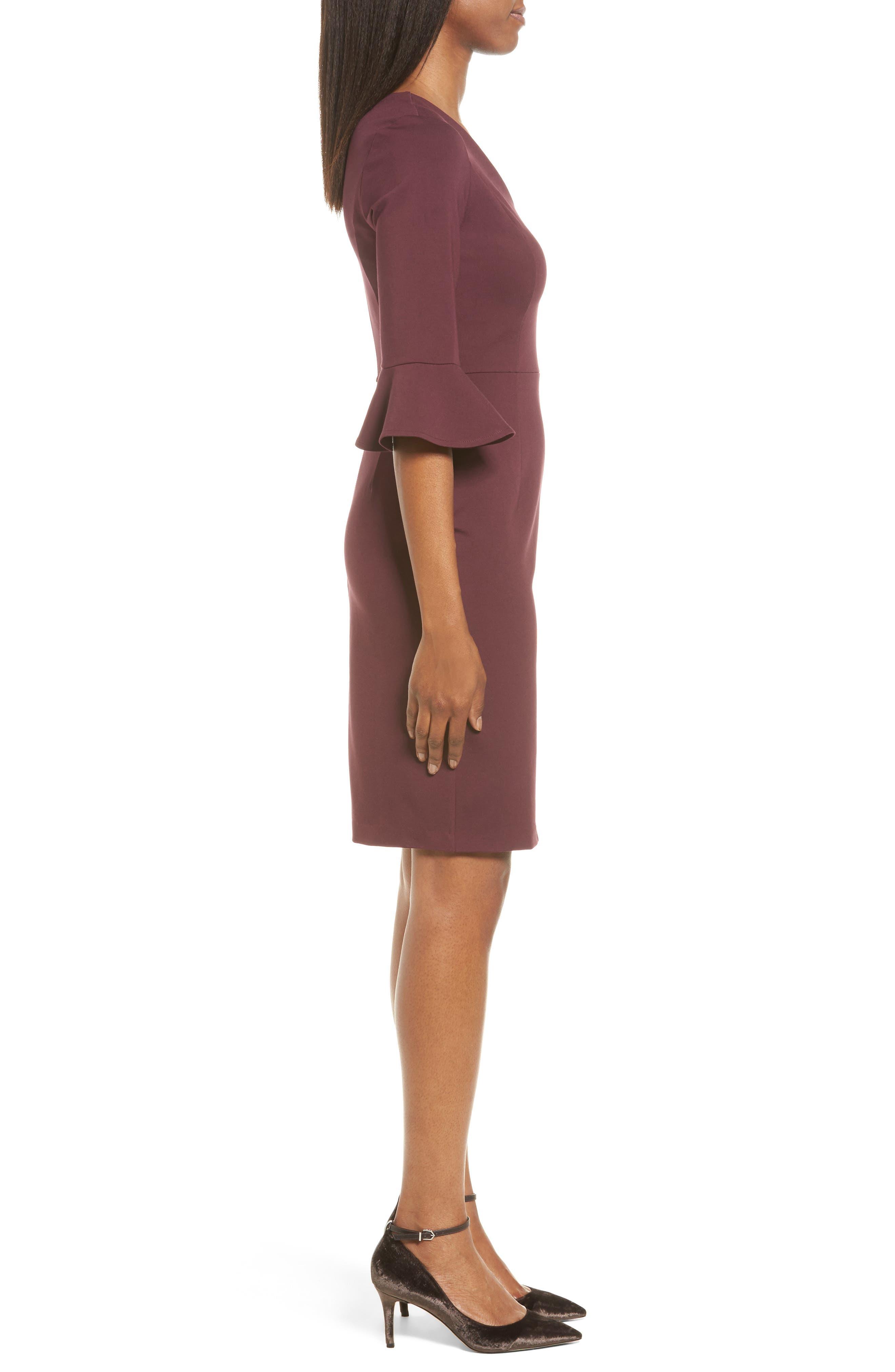Alternate Image 3  - Halogen® Ruffle Sleeve Ponte Sheath Dress (Regular & Petite)