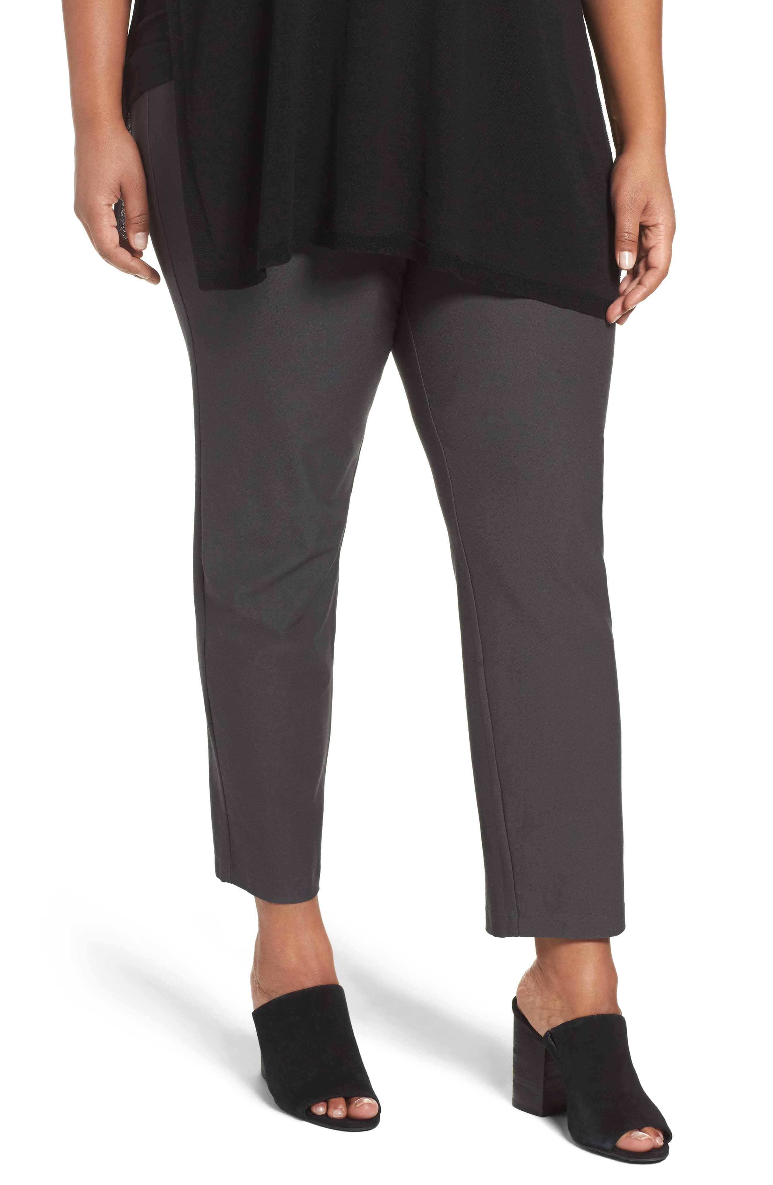 Slim Washable Stretch Crepe Ankle Pants,                         Main,                         color, Bark