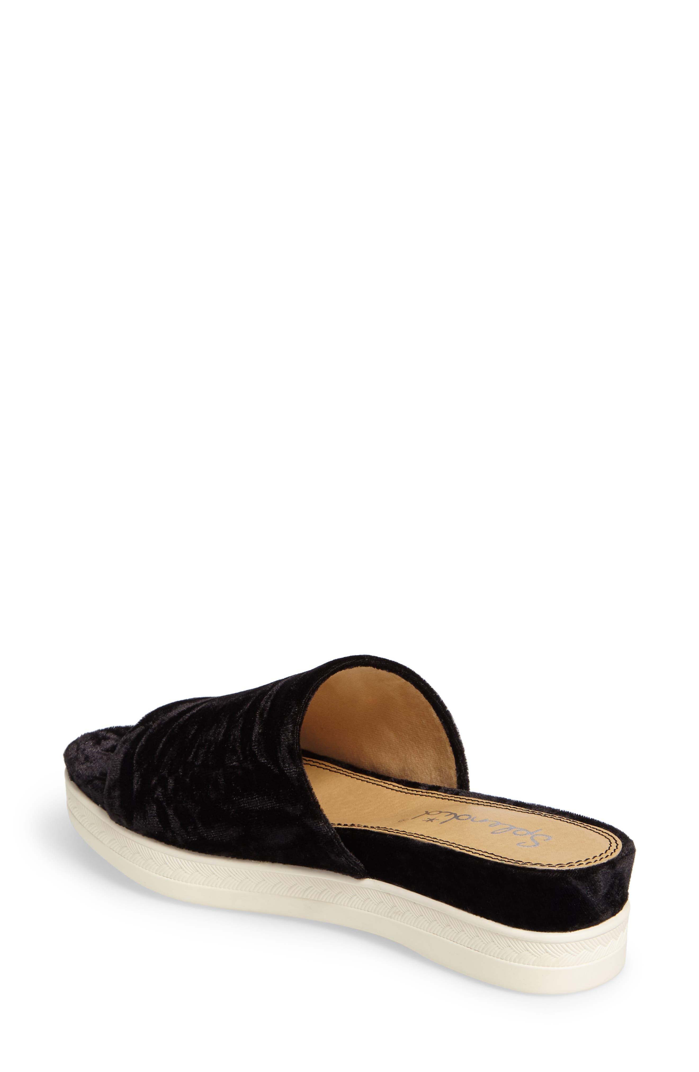 Darla Slide Sandal,                             Alternate thumbnail 2, color,                             Black Velvet Fabric