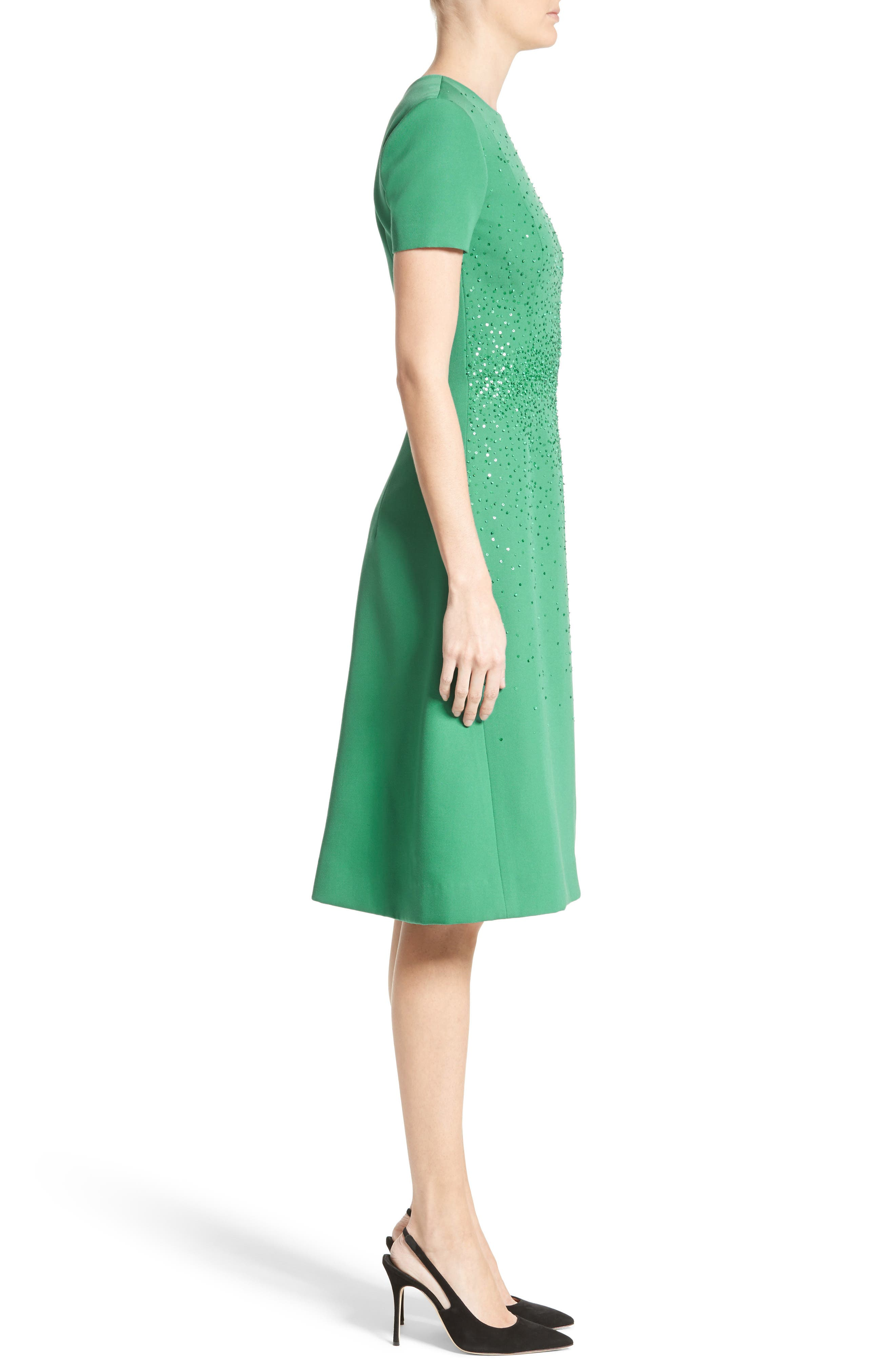 Beaded Stretch Wool Dress,                             Alternate thumbnail 4, color,                             Green