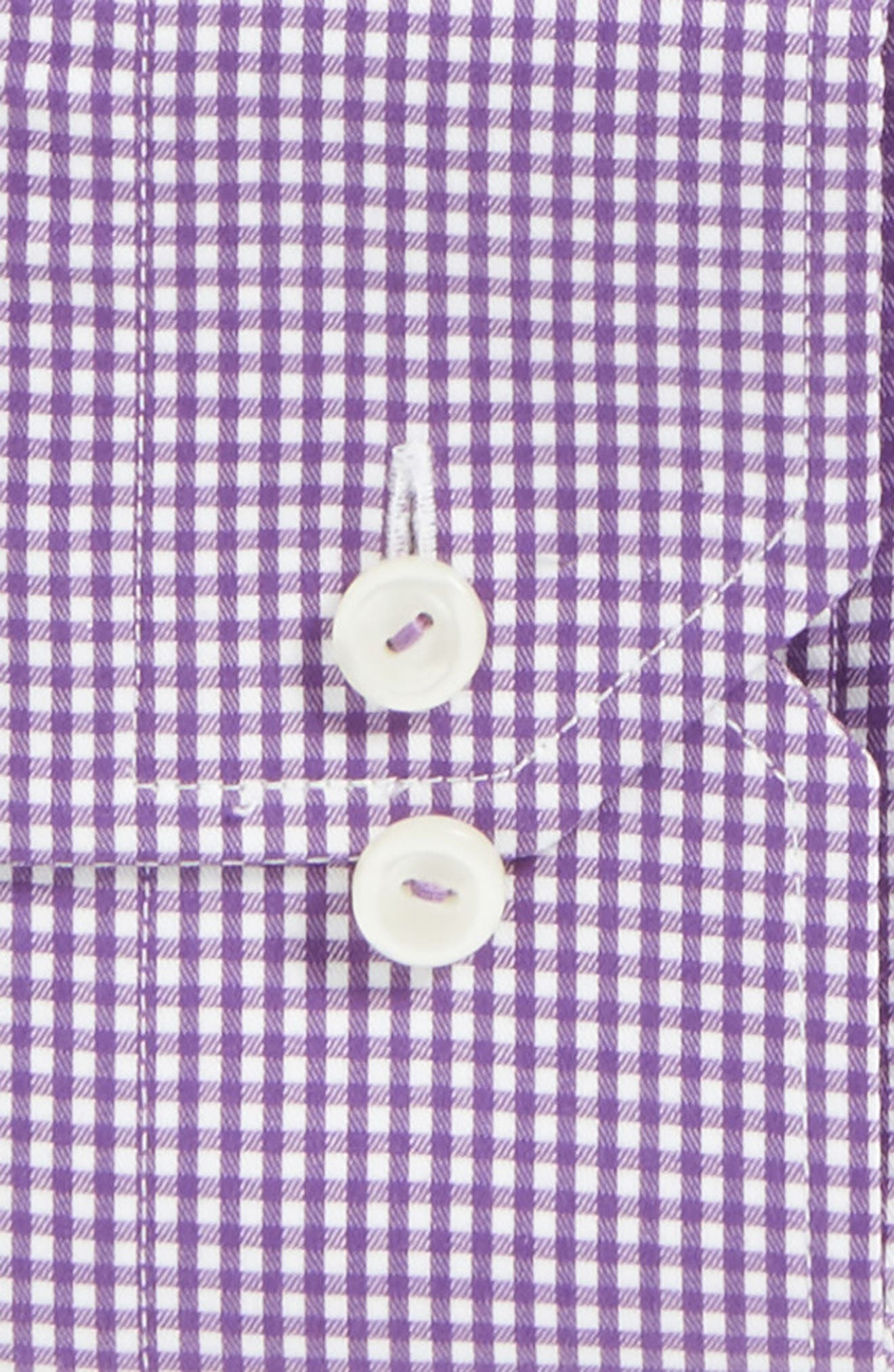 Slim Fit Check Dress Shirt,                             Alternate thumbnail 4, color,                             Purple