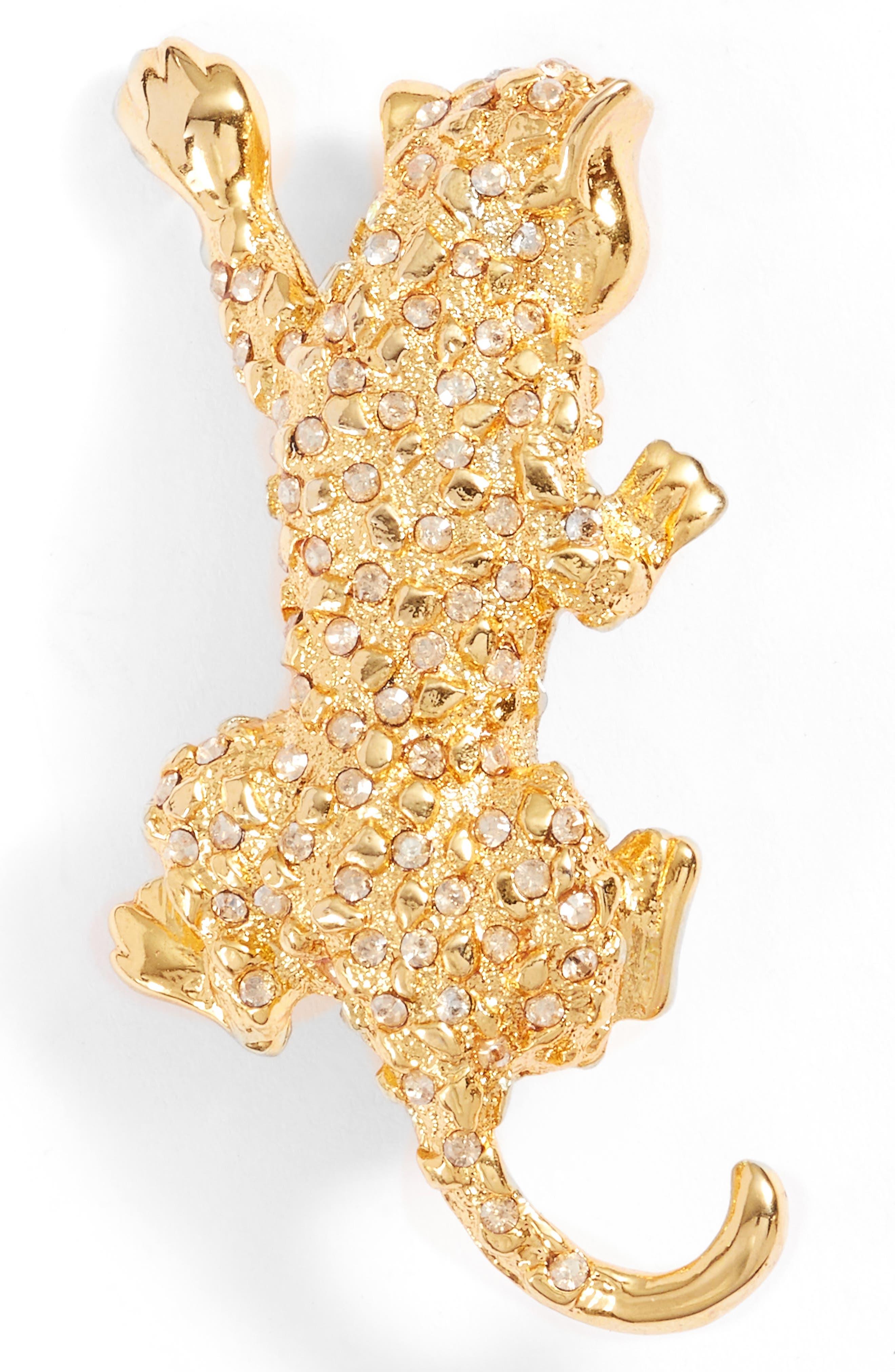 Leopard Pin,                             Main thumbnail 1, color,                             Crystal Gold Shadow