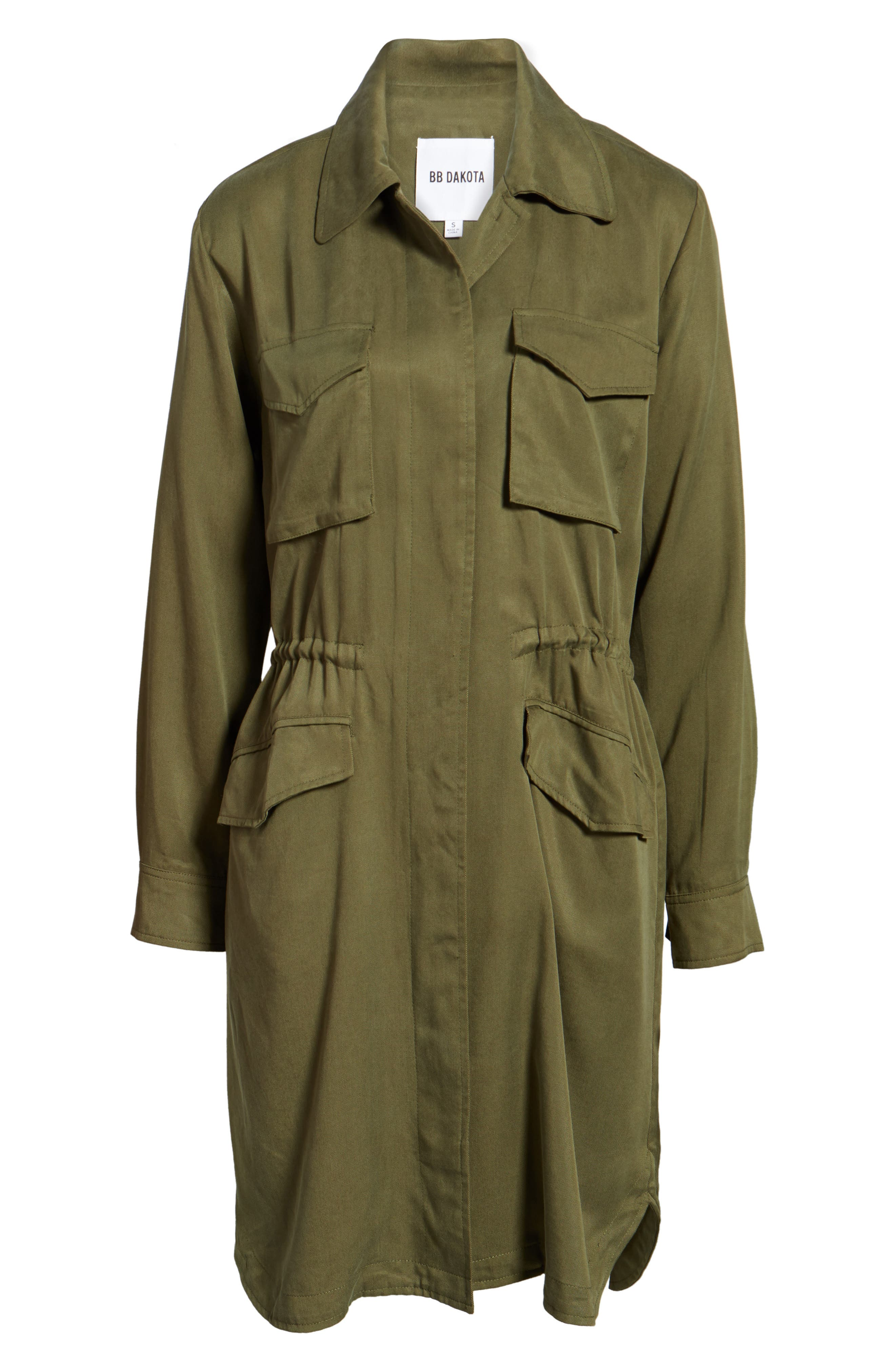 Averie Drawstring Waist Army Coat,                             Alternate thumbnail 6, color,                             Sage
