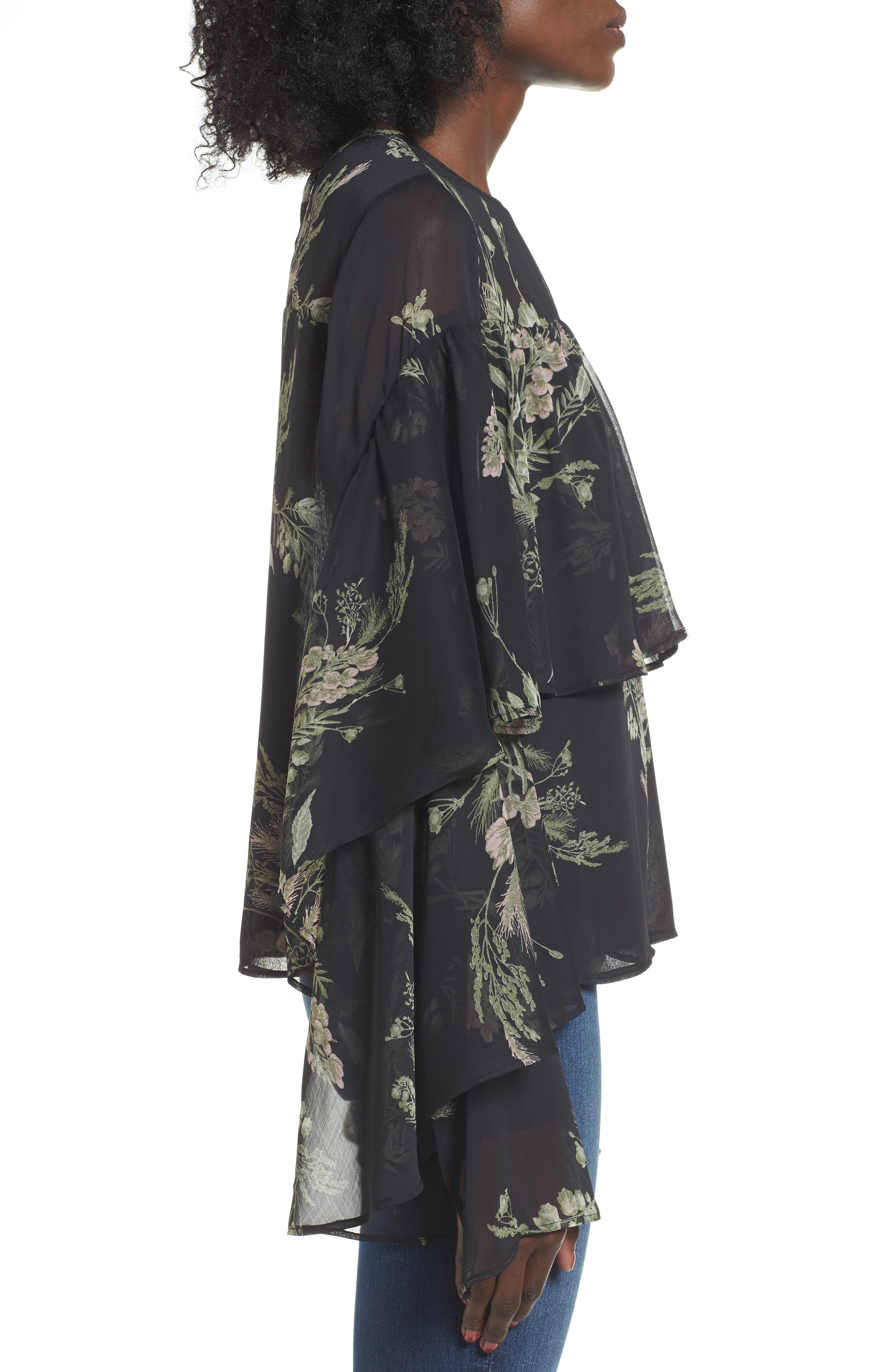 Tiered Flounce Top,                             Alternate thumbnail 3, color,                             Black Whispy Floral