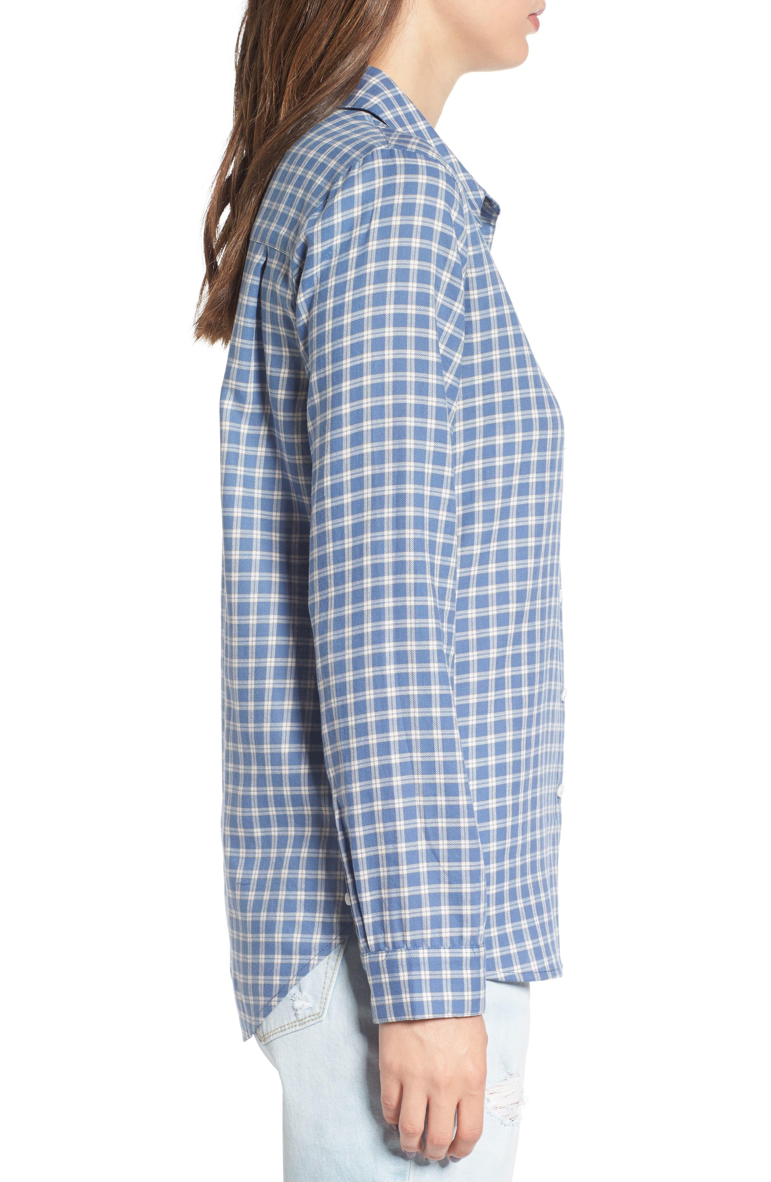 Classic Plaid Shirt,                             Alternate thumbnail 3, color,                             Blue Moonlight Grid Check