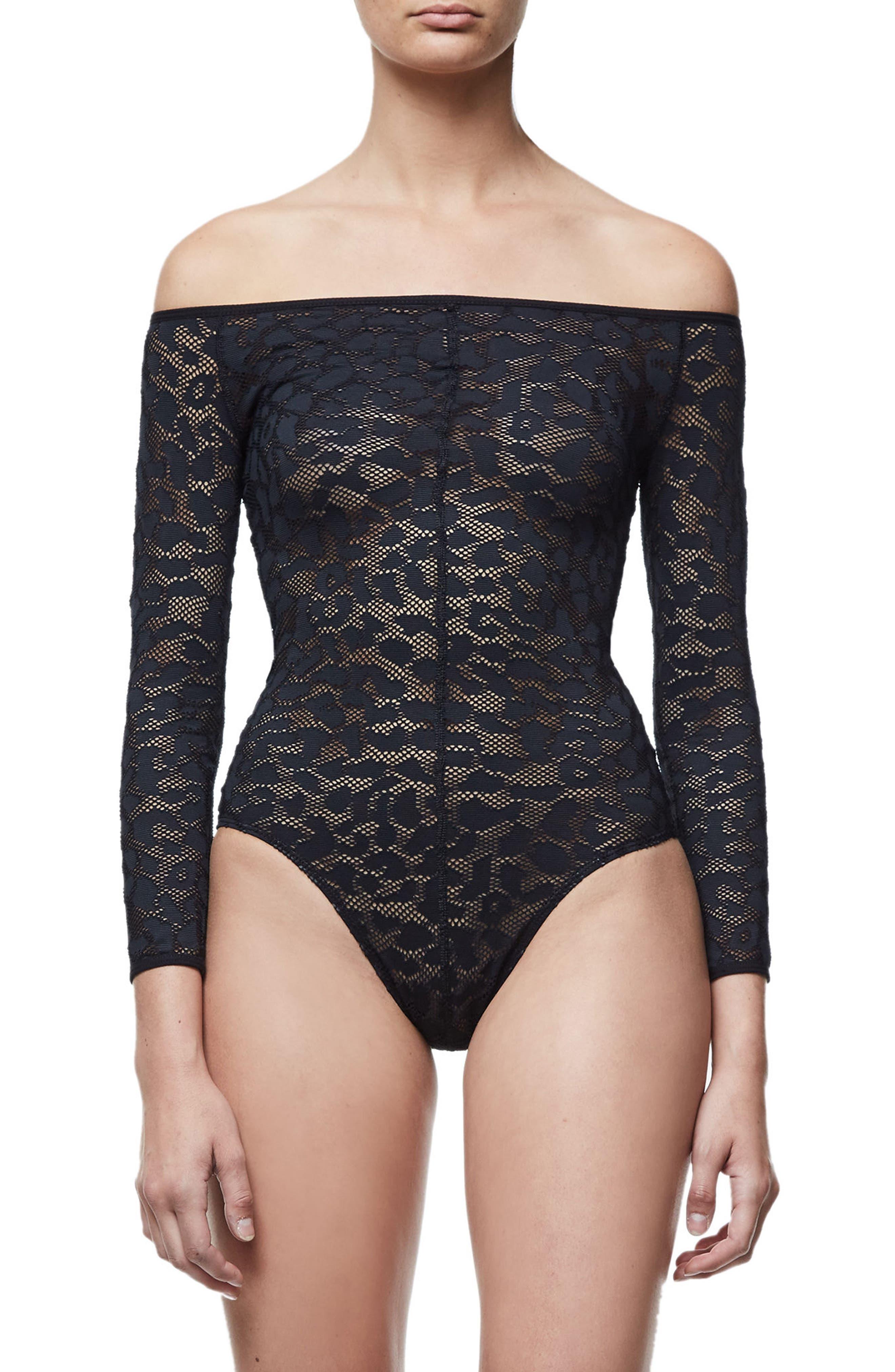 Good Body Shoulder Action Bodysuit,                             Alternate thumbnail 2, color,                             Black