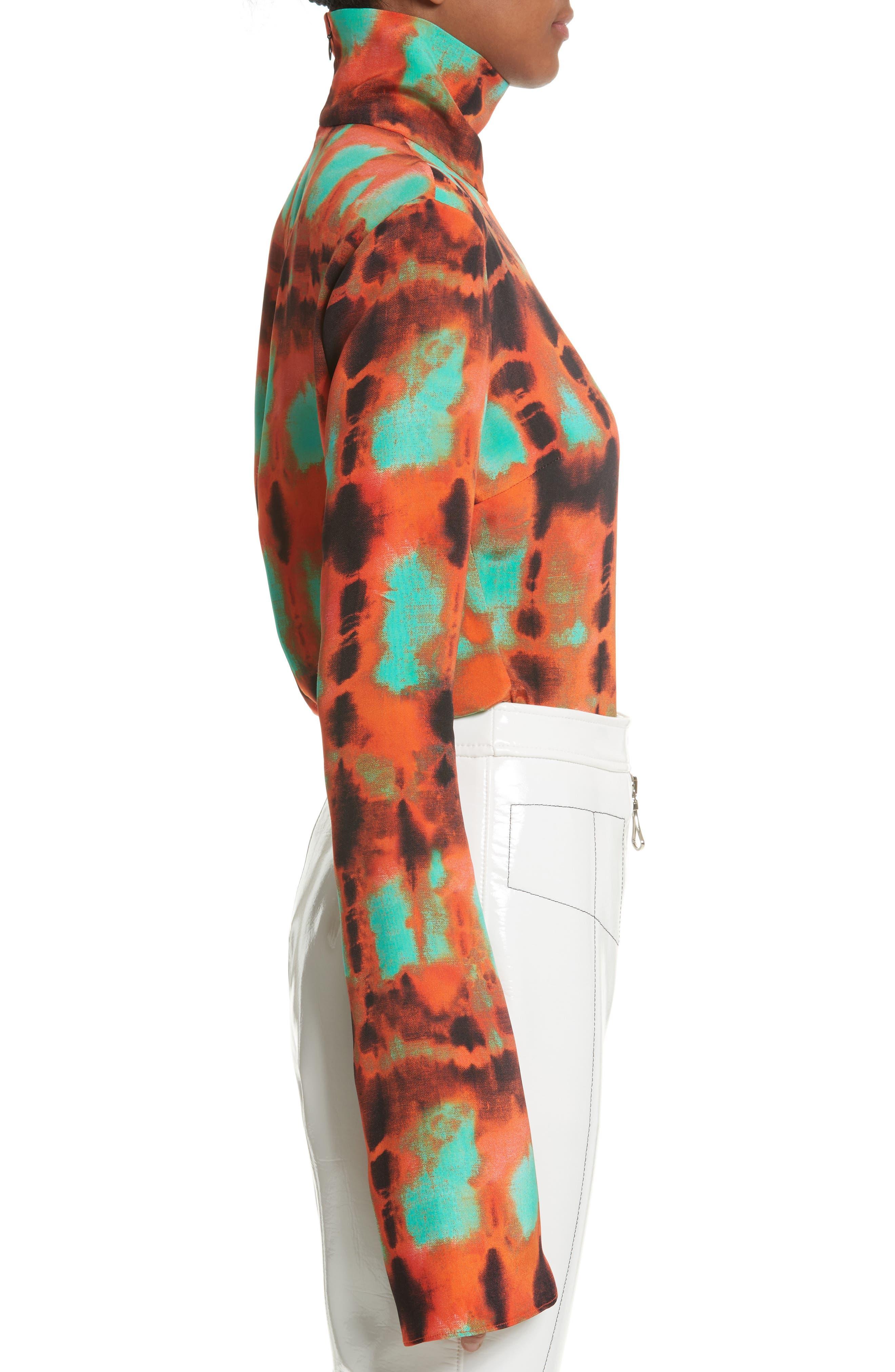 Yuppie Printed Silk Turtleneck,                             Alternate thumbnail 4, color,                             Orange Mint