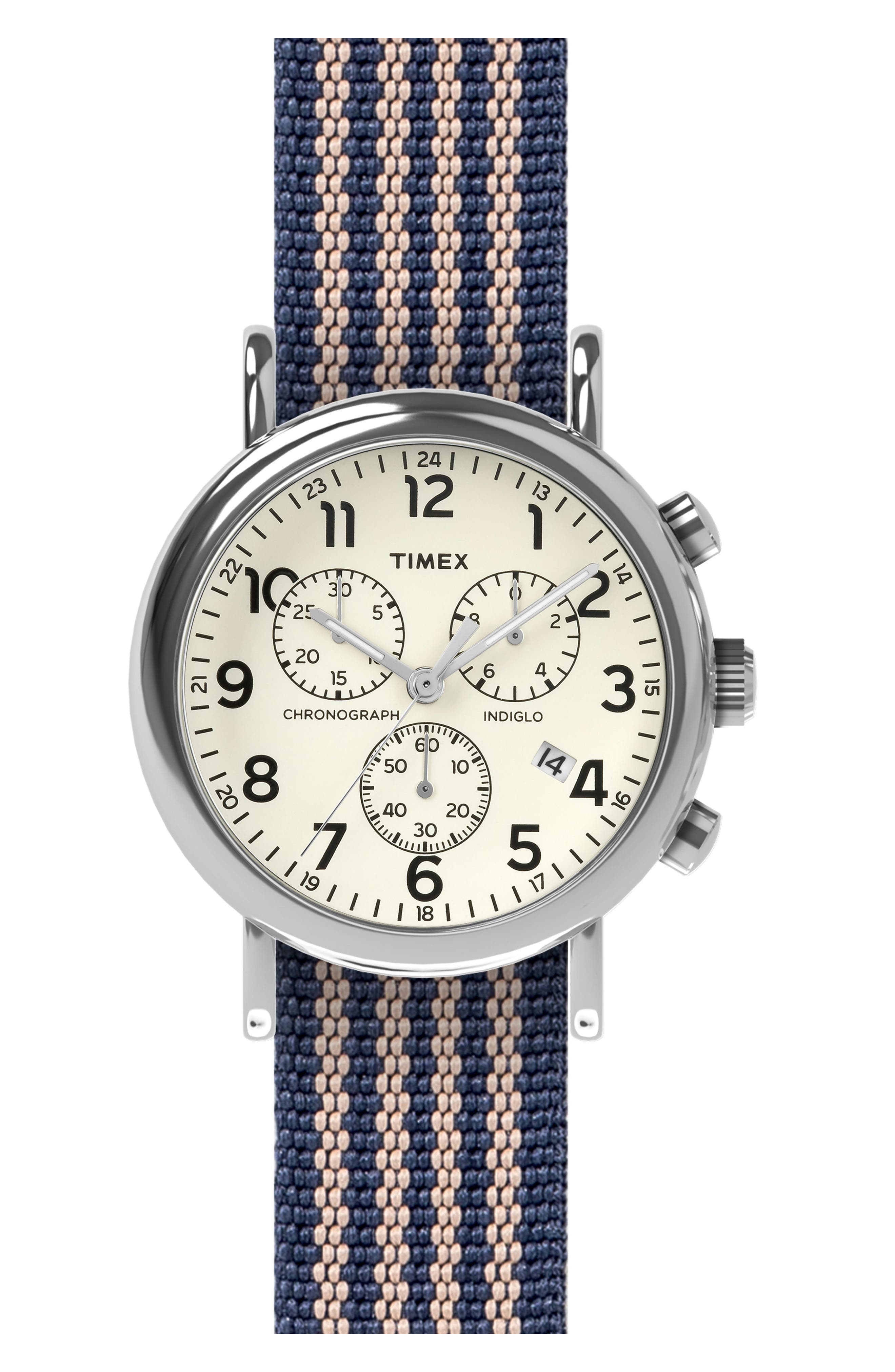 TIMEX<SUP>®</SUP> ARCHIVE Timex<sup>®</sup> Chronograph Stripe Fabric Strap Watch, 40mm