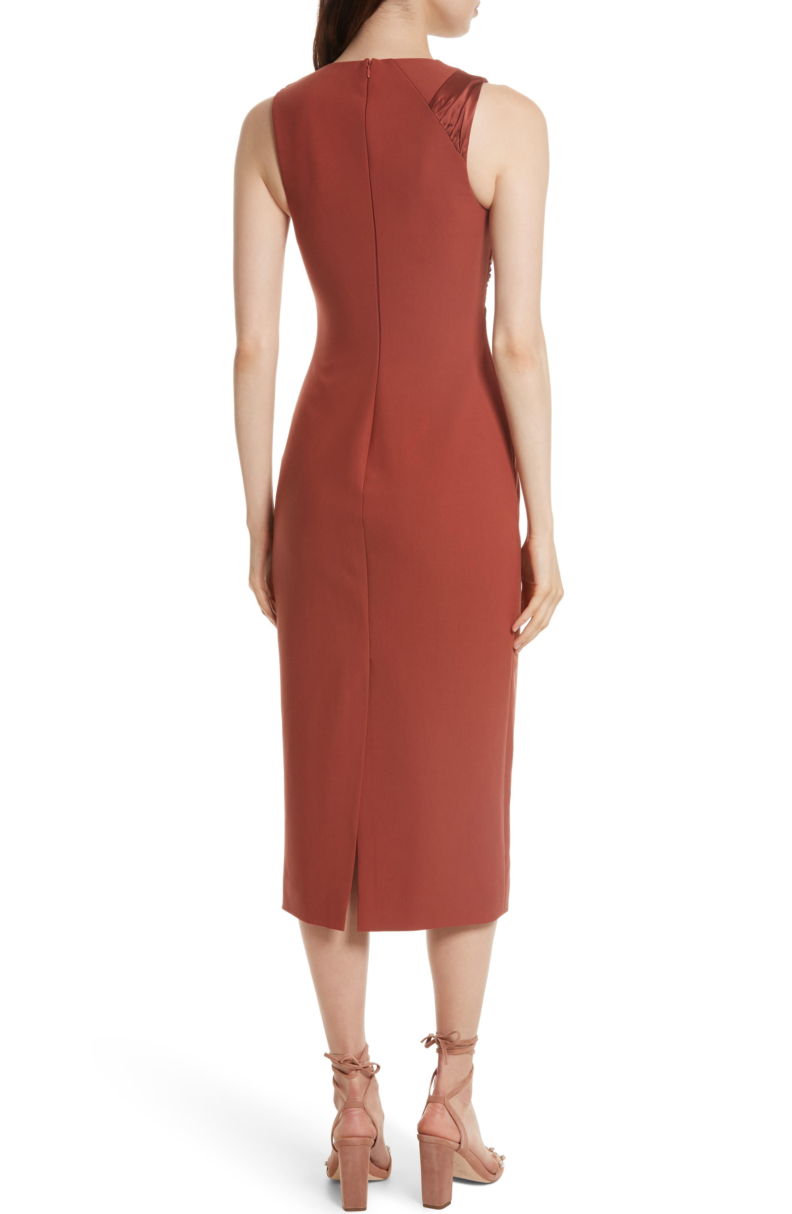 Adelise Crossover Sleeveless Sheath Dress,                             Alternate thumbnail 2, color,                             Tobacco