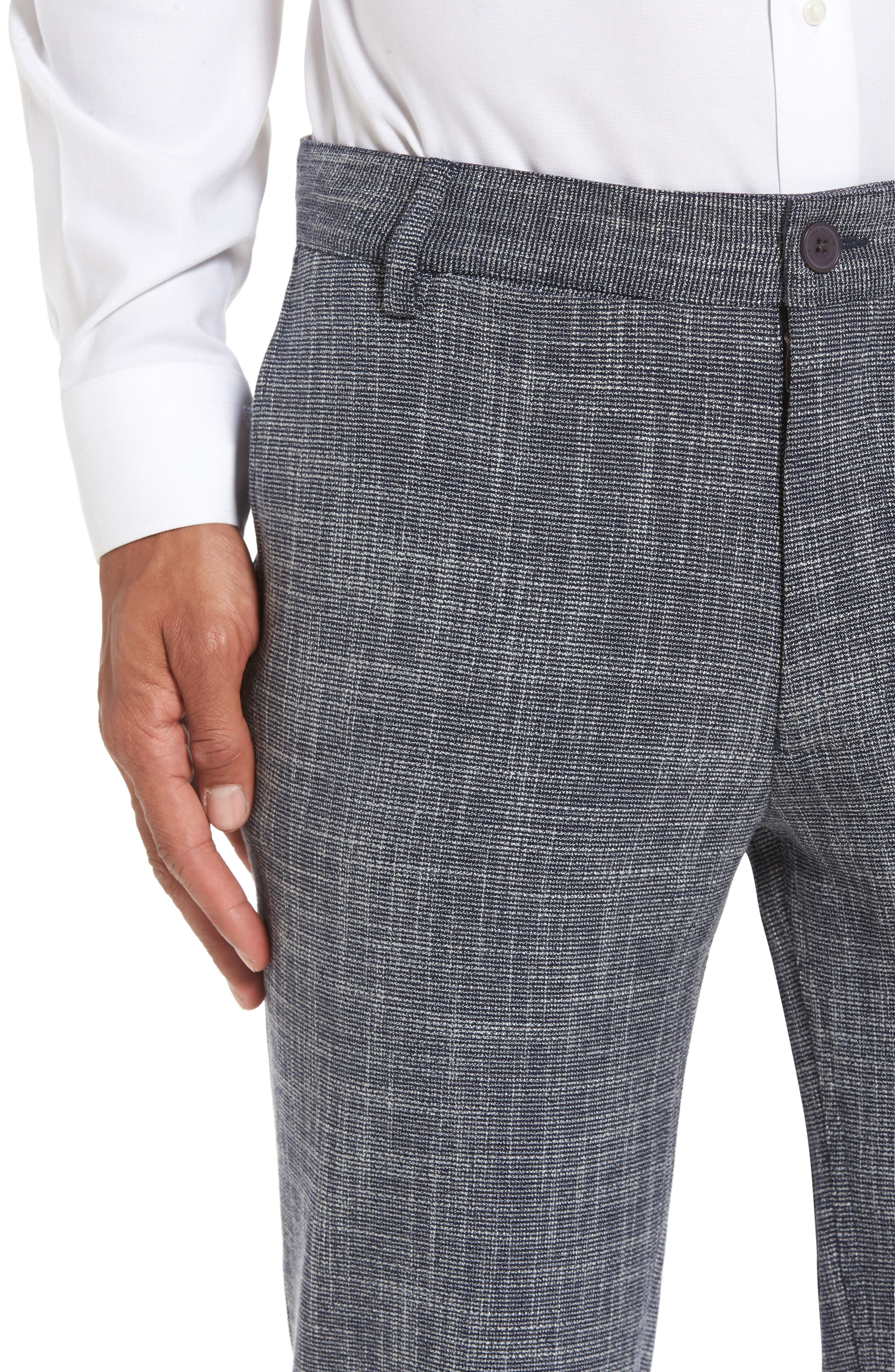 Slim Fit Cuffed Pants,                             Alternate thumbnail 4, color,                             Navy Scratch Weave