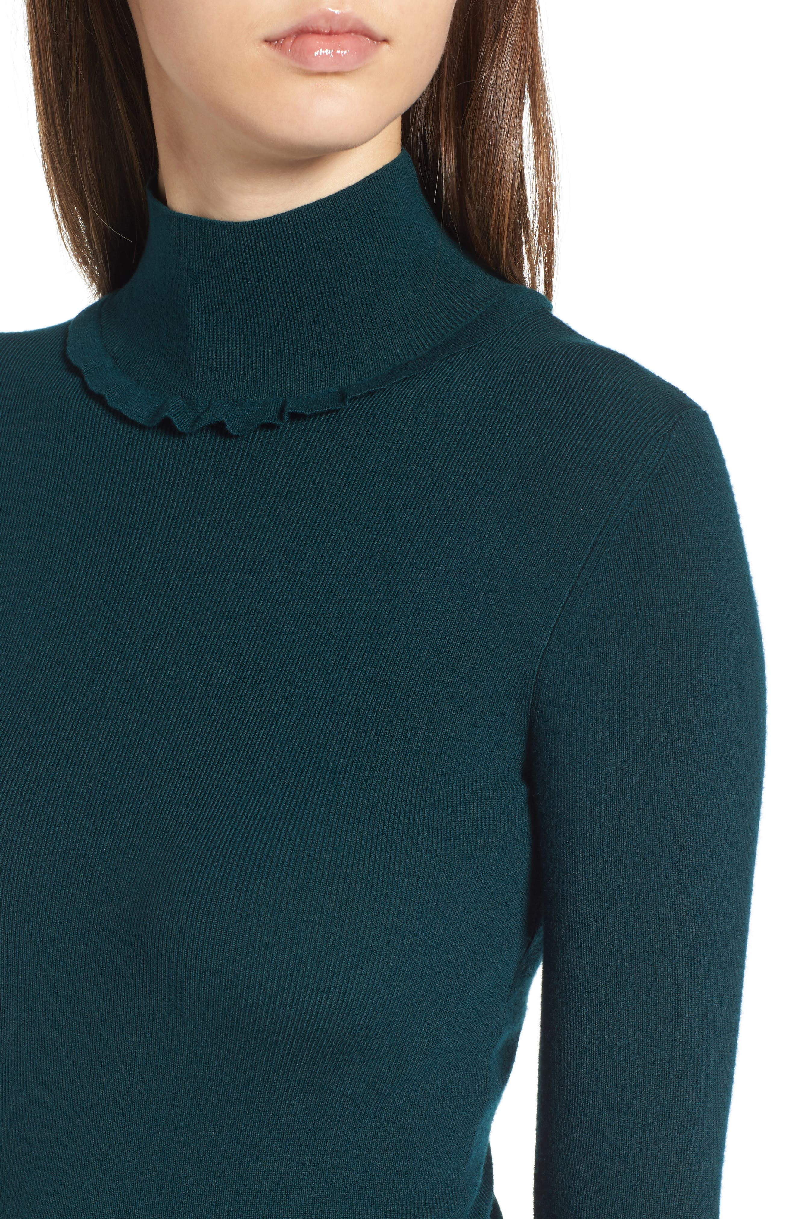 Ruffle Detail Pullover,                             Alternate thumbnail 5, color,                             Green Ponderosa