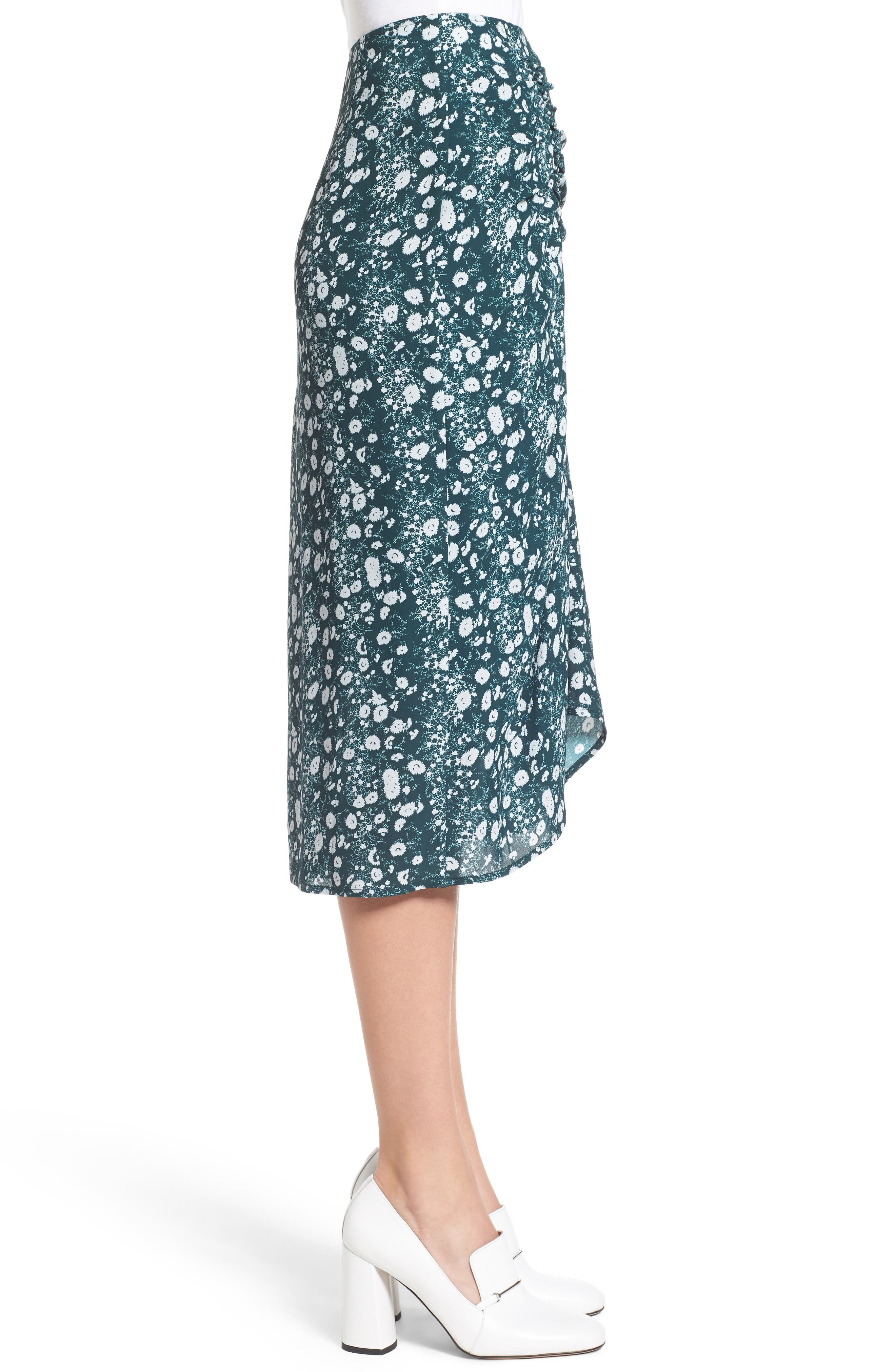 Print Skirt,                             Alternate thumbnail 3, color,                             Green Clara Floral Print