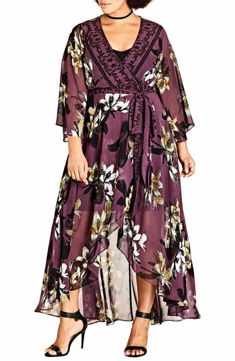 City Chic Burgundy Lily Maxi Dress (Plus Size)