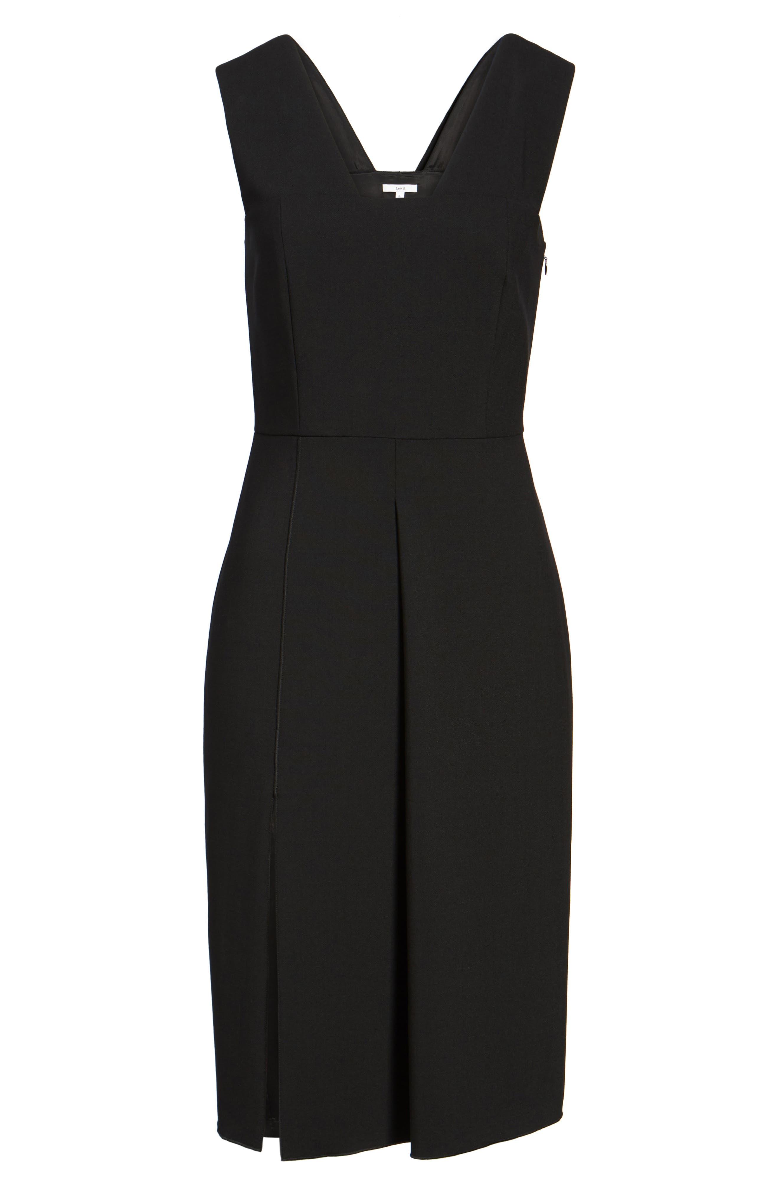 Corset Detail Stretch Wool Sheath Dress,                             Alternate thumbnail 6, color,                             Black