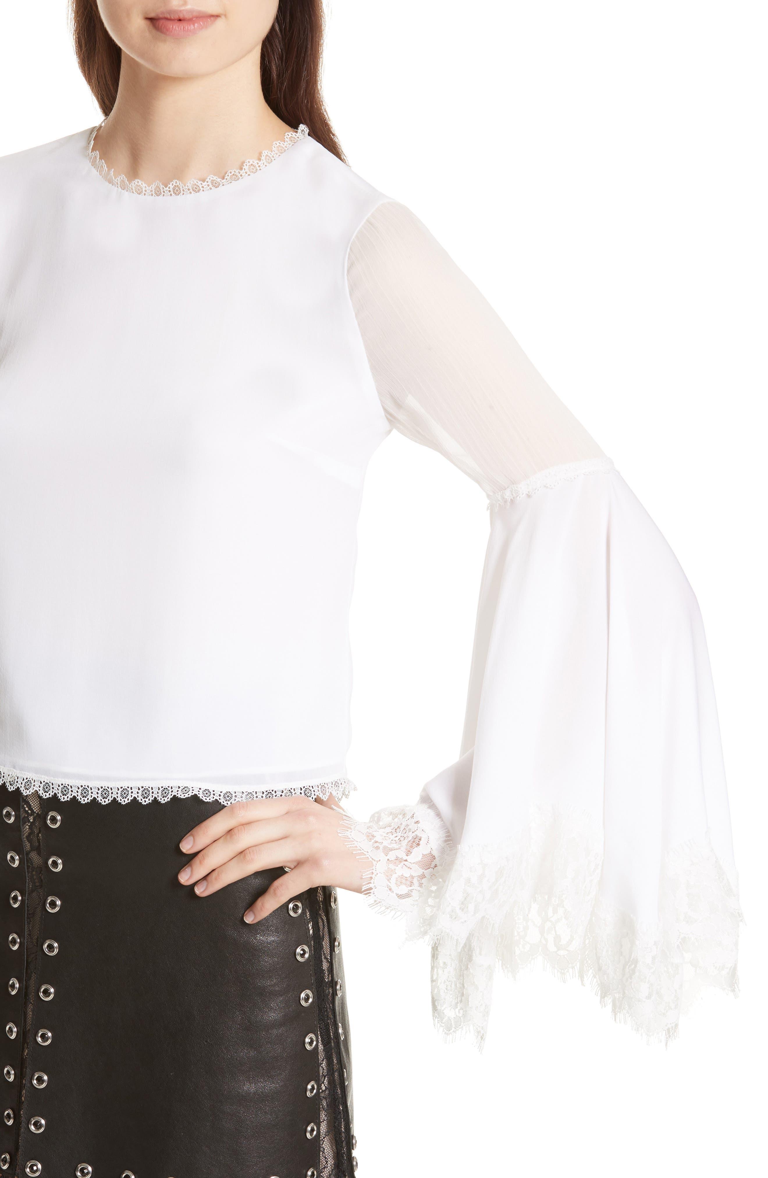 Levine Bell Sleeve Blouse,                             Alternate thumbnail 5, color,                             Off White