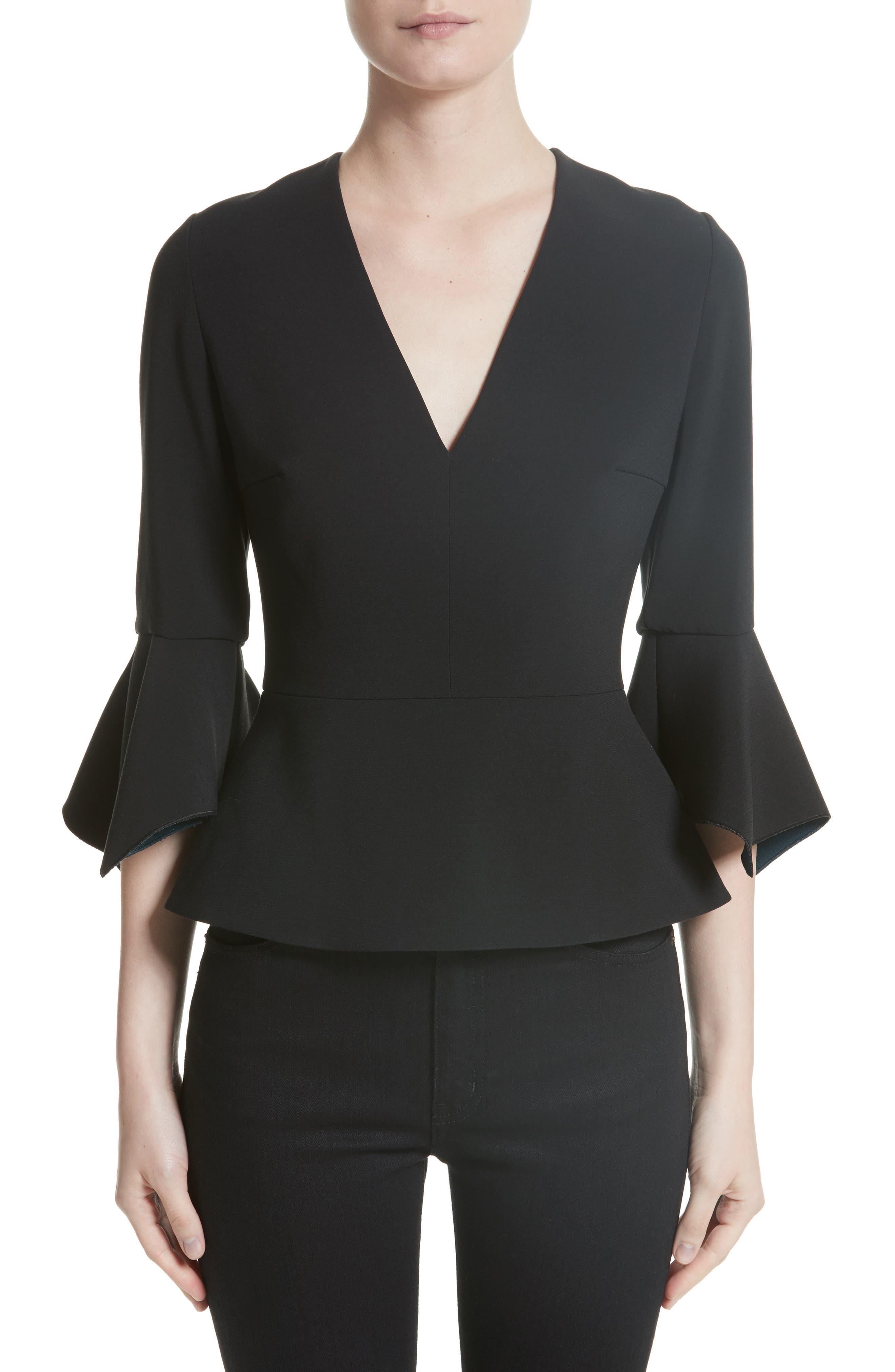 Prila Flare Sleeve Crepe Top,                         Main,                         color, Black/ Peacock