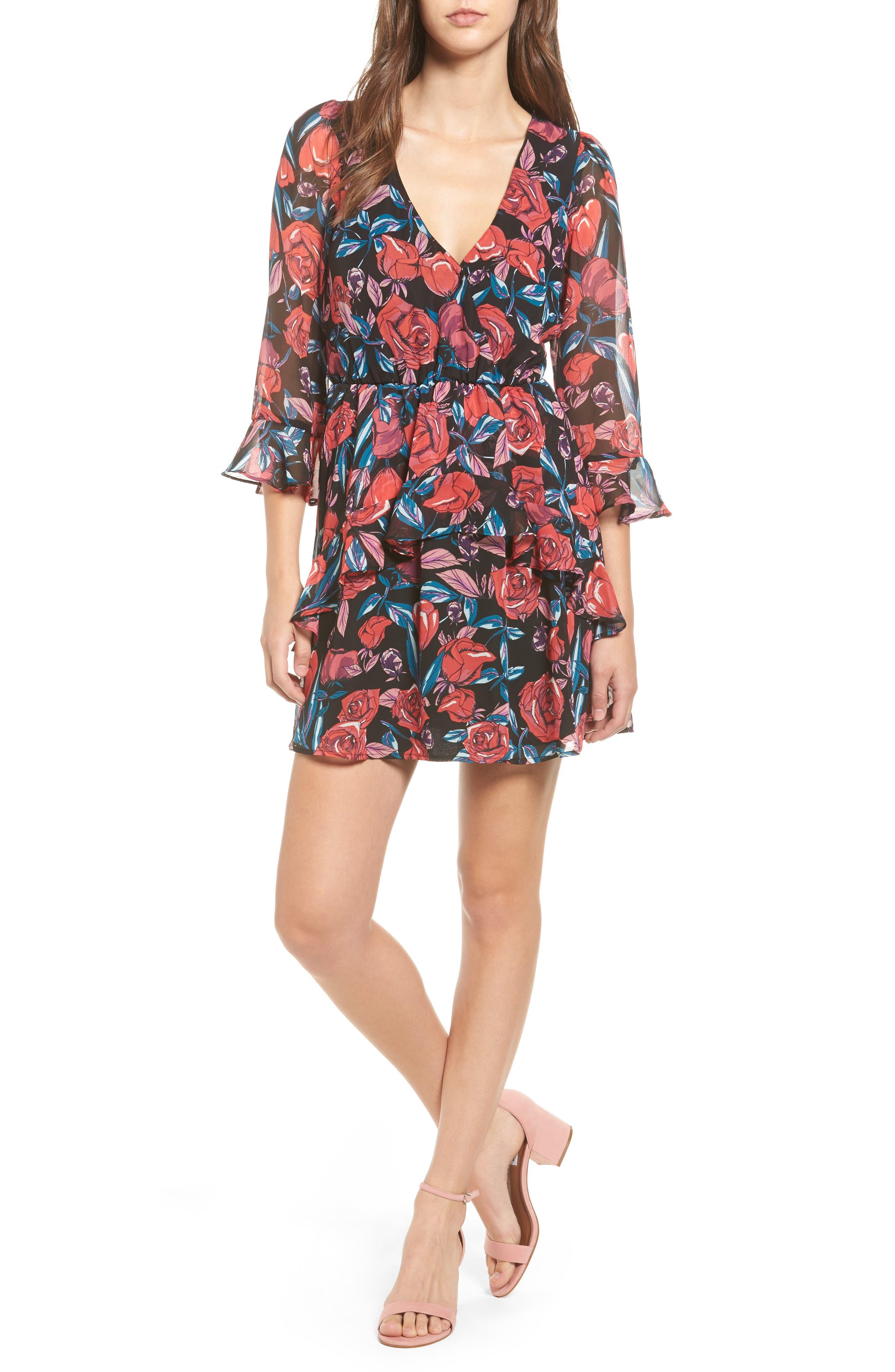 Ruffle Minidress,                             Main thumbnail 1, color,                             Black/ Pink