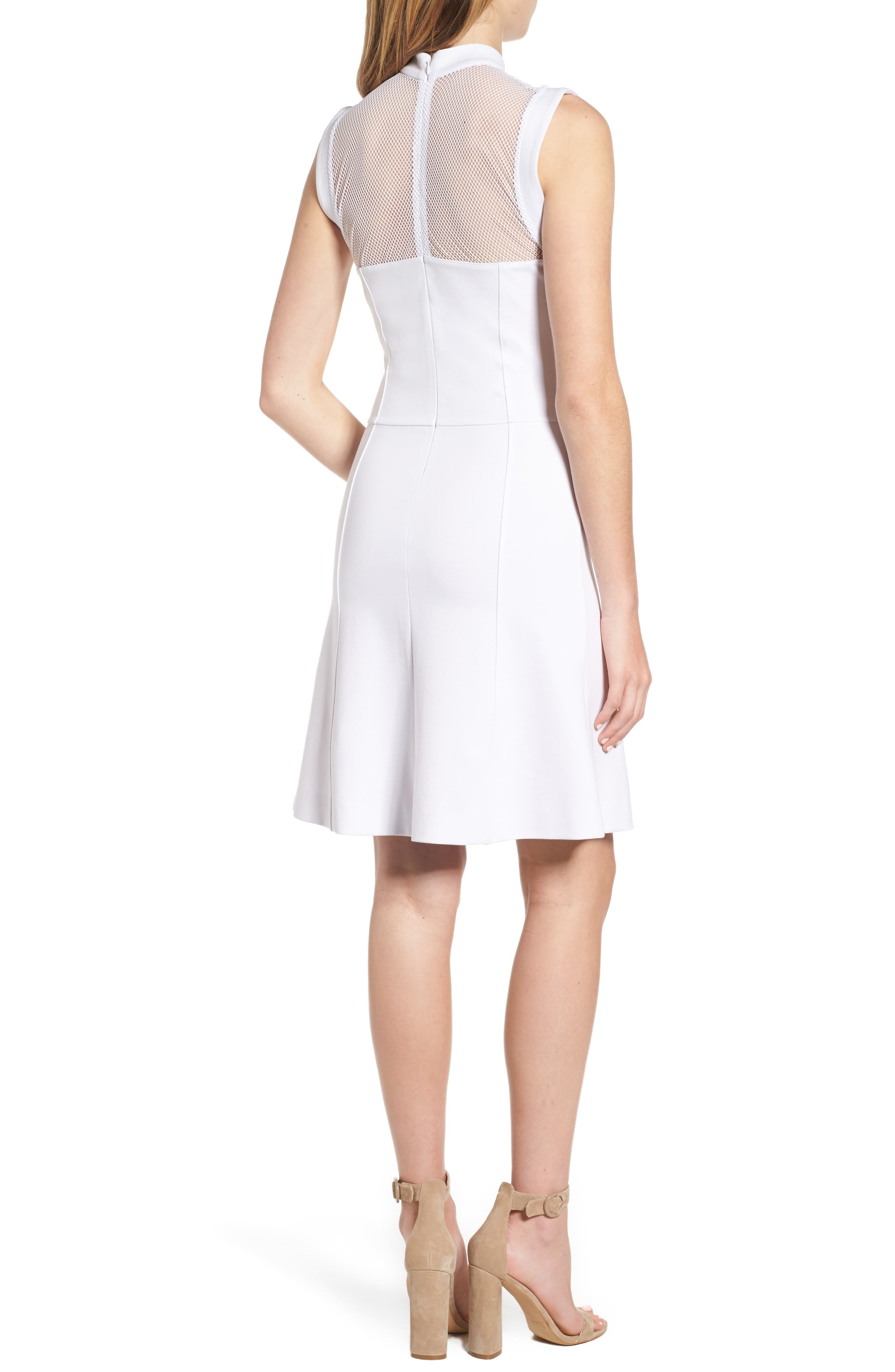 Galactica Fit & Flare Dress,                             Alternate thumbnail 2, color,                             White