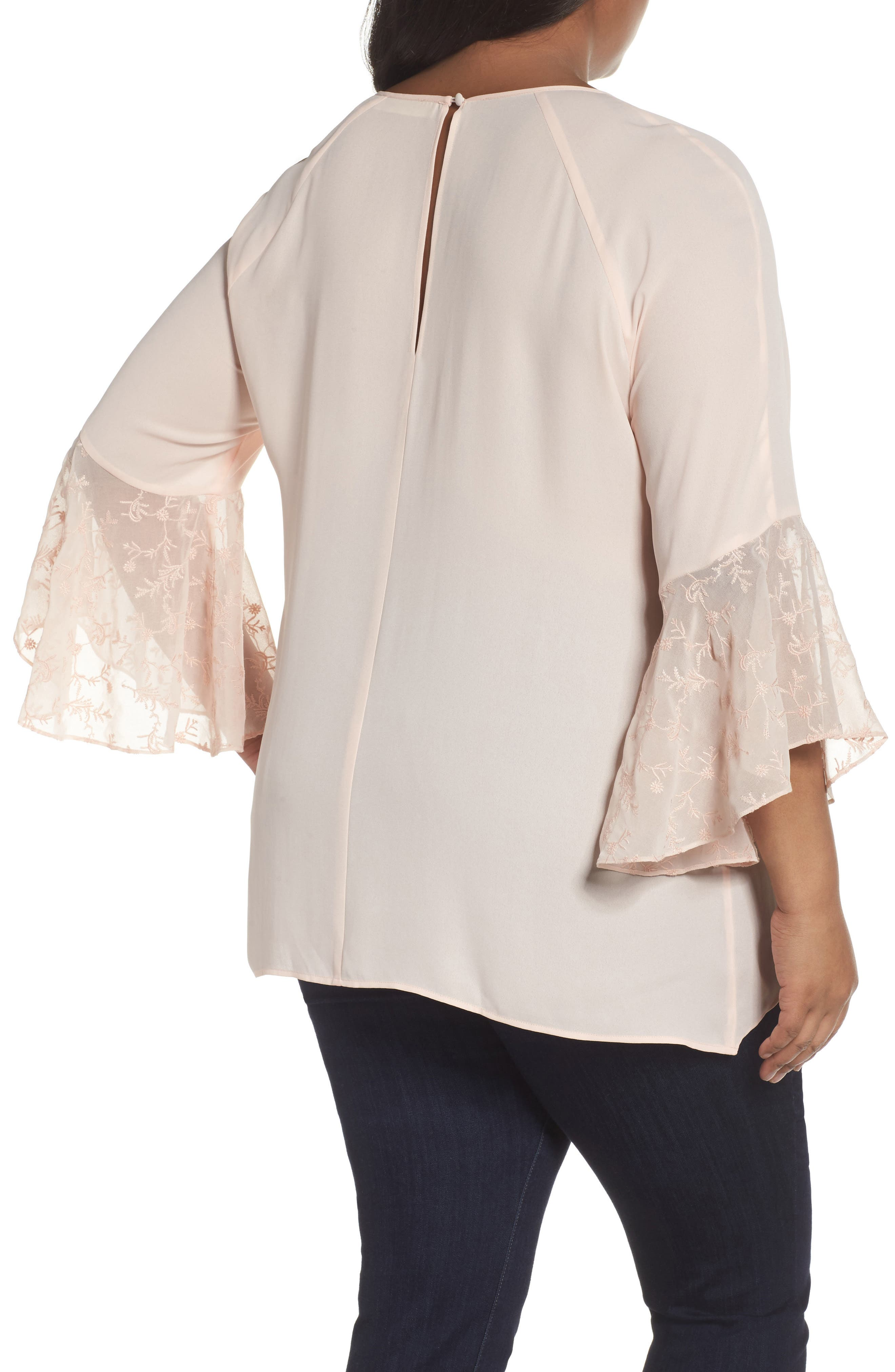 Alternate Image 2  - Sejour Embroidered Bell Sleeve Blouse (Plus Size)