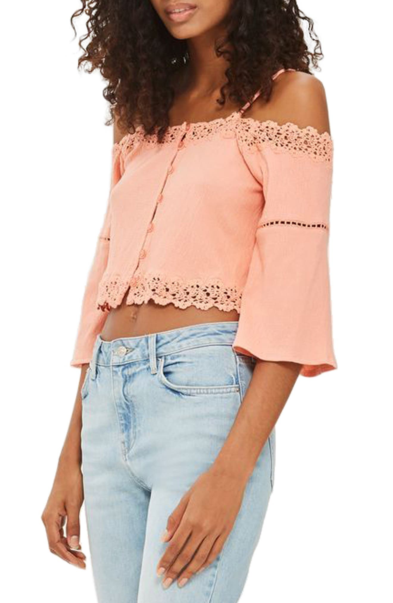Alternate Image 1 Selected - Topshop Cold Shoulder Top