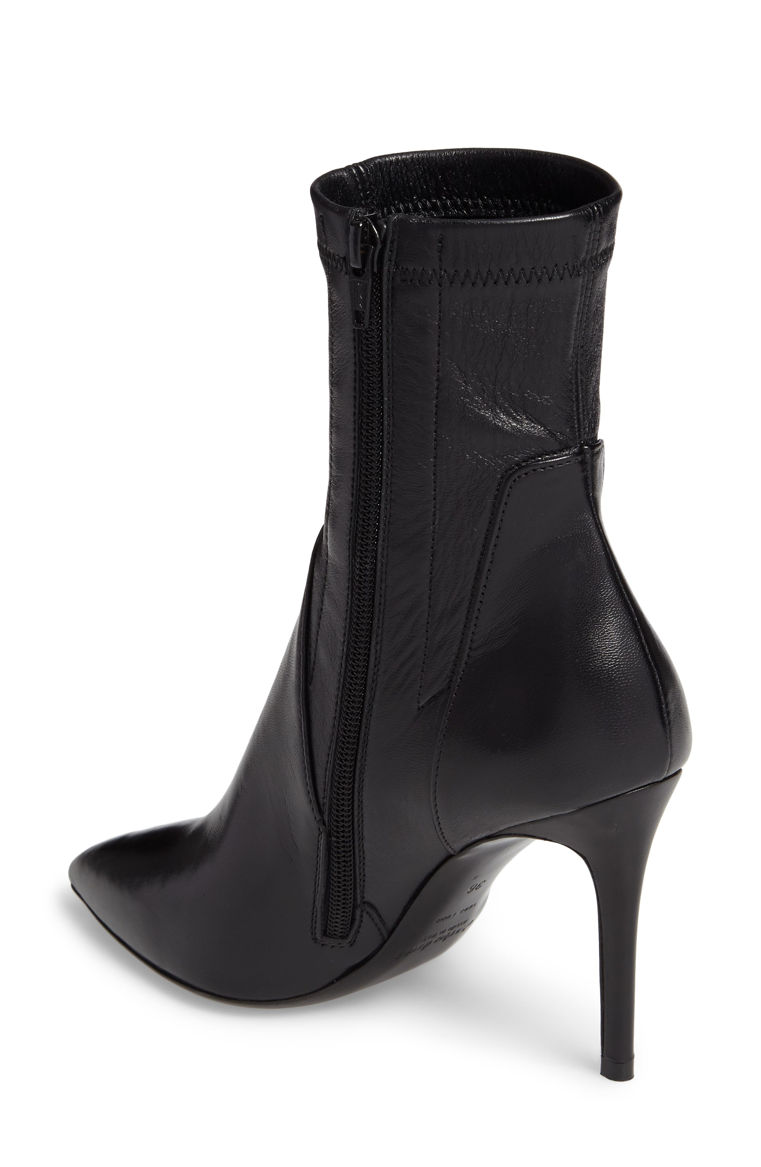Linden Mid-Calf Pointy-Toe Boot,                             Alternate thumbnail 2, color,                             Black Stretch Glove Leather