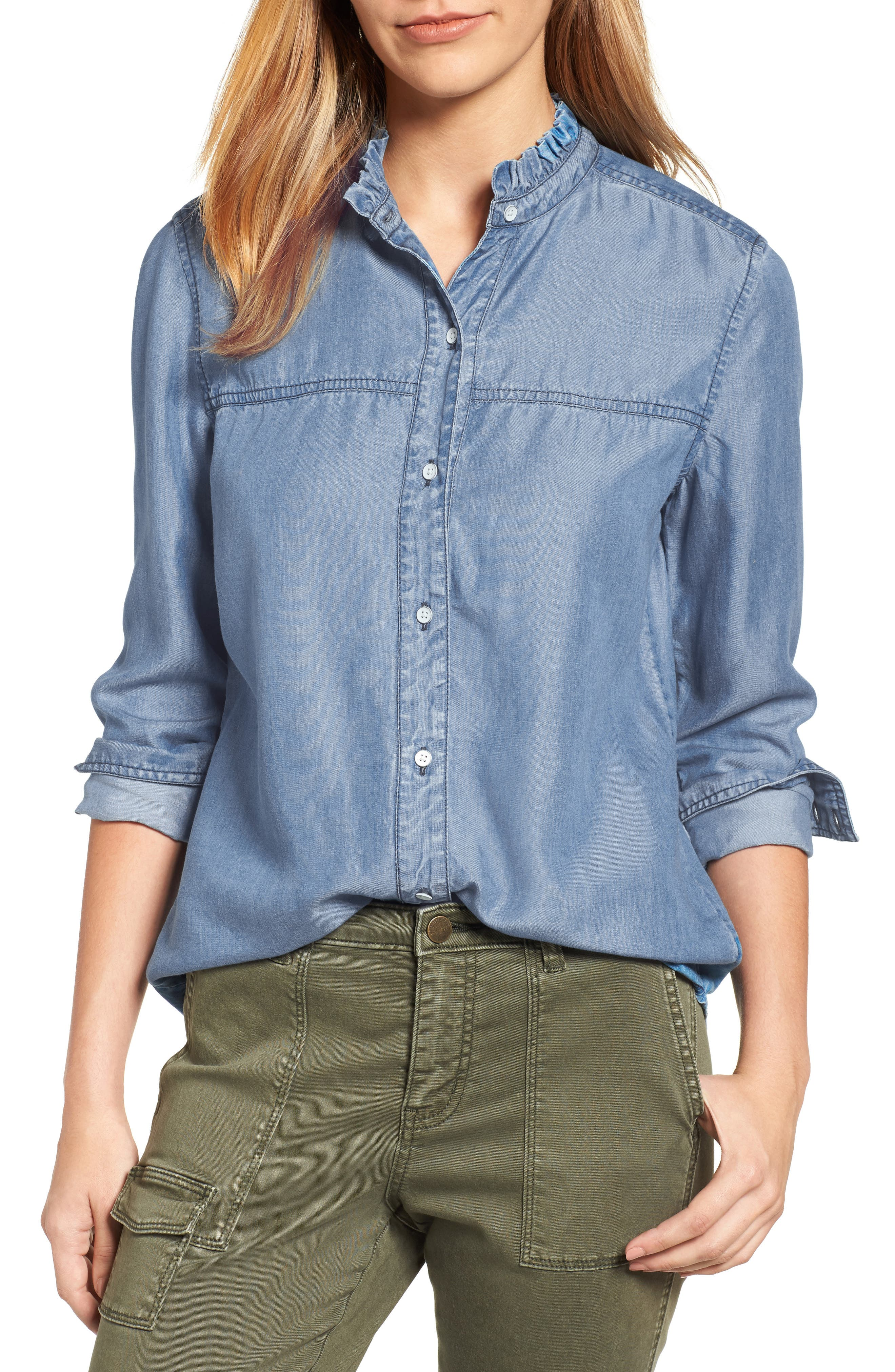 Alternate Image 1 Selected - Caslon® Chambray Shirt (Regular & Petite)