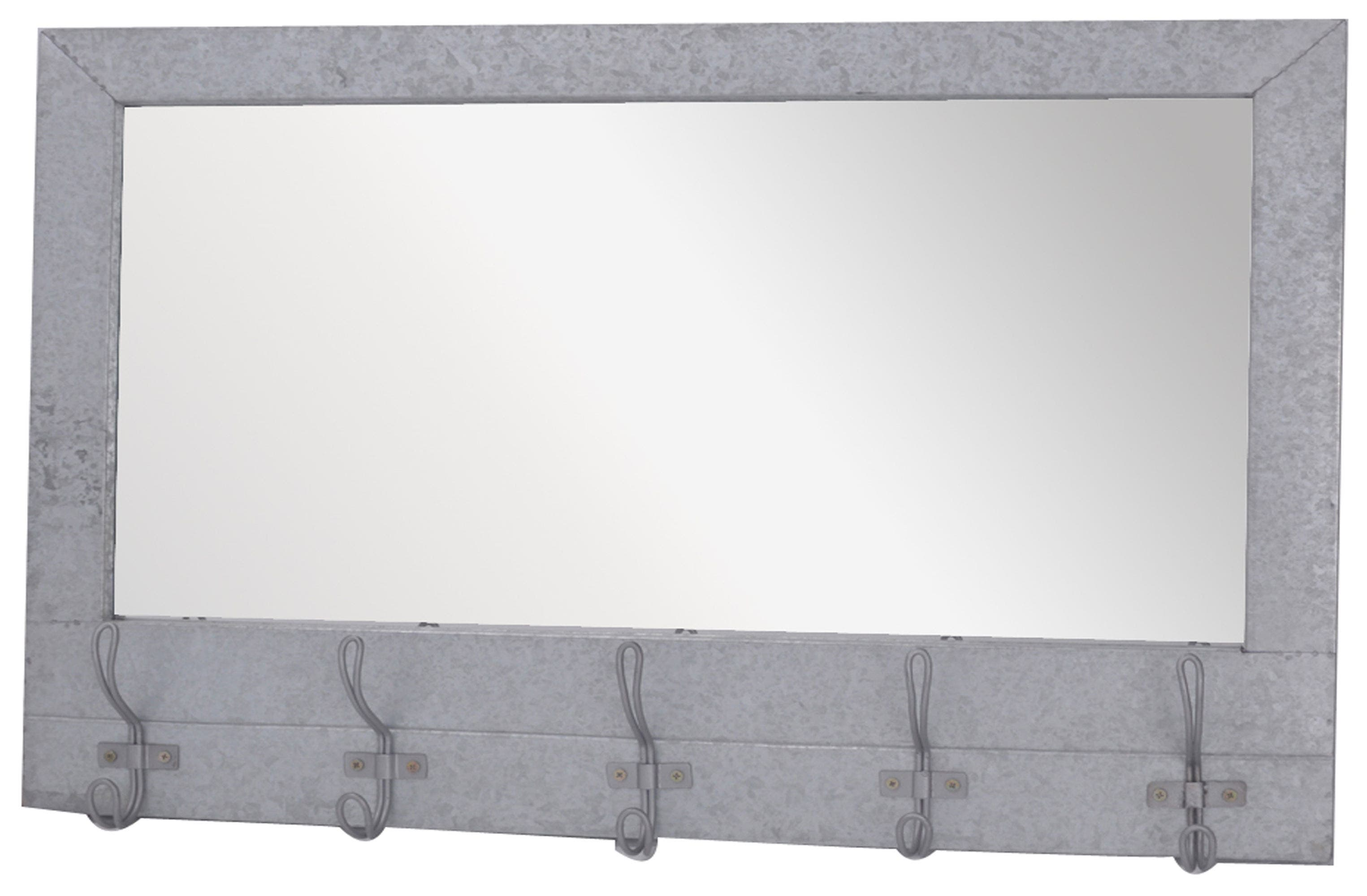 Metal Wall Mirror with Hooks,                         Main,                         color, Grey