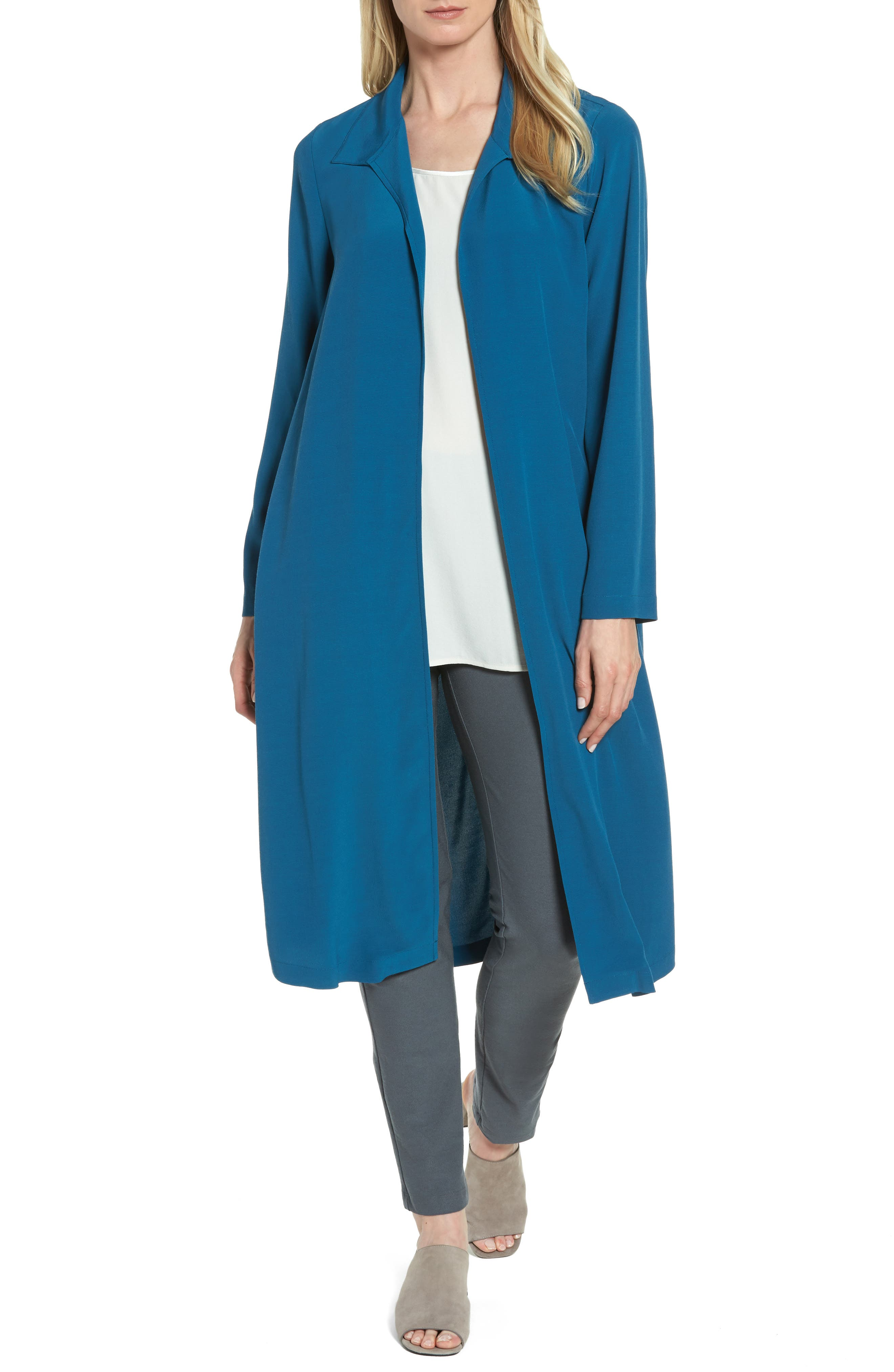 Open Front Duster Jacket,                             Main thumbnail 1, color,                             Nile