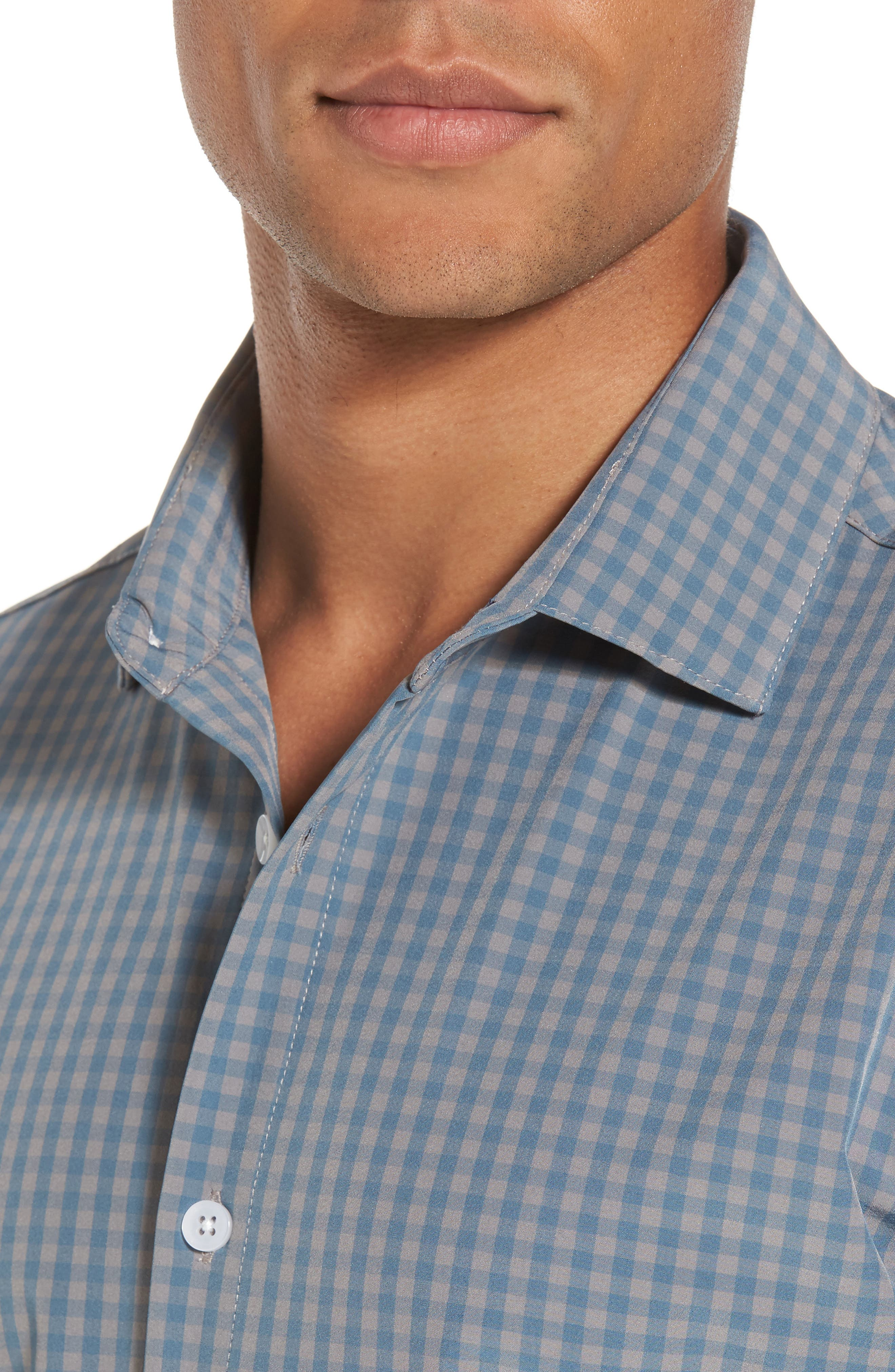 Knox Blue Smoke & Grey Gingham Sport Shirt,                             Alternate thumbnail 4, color,                             Blue