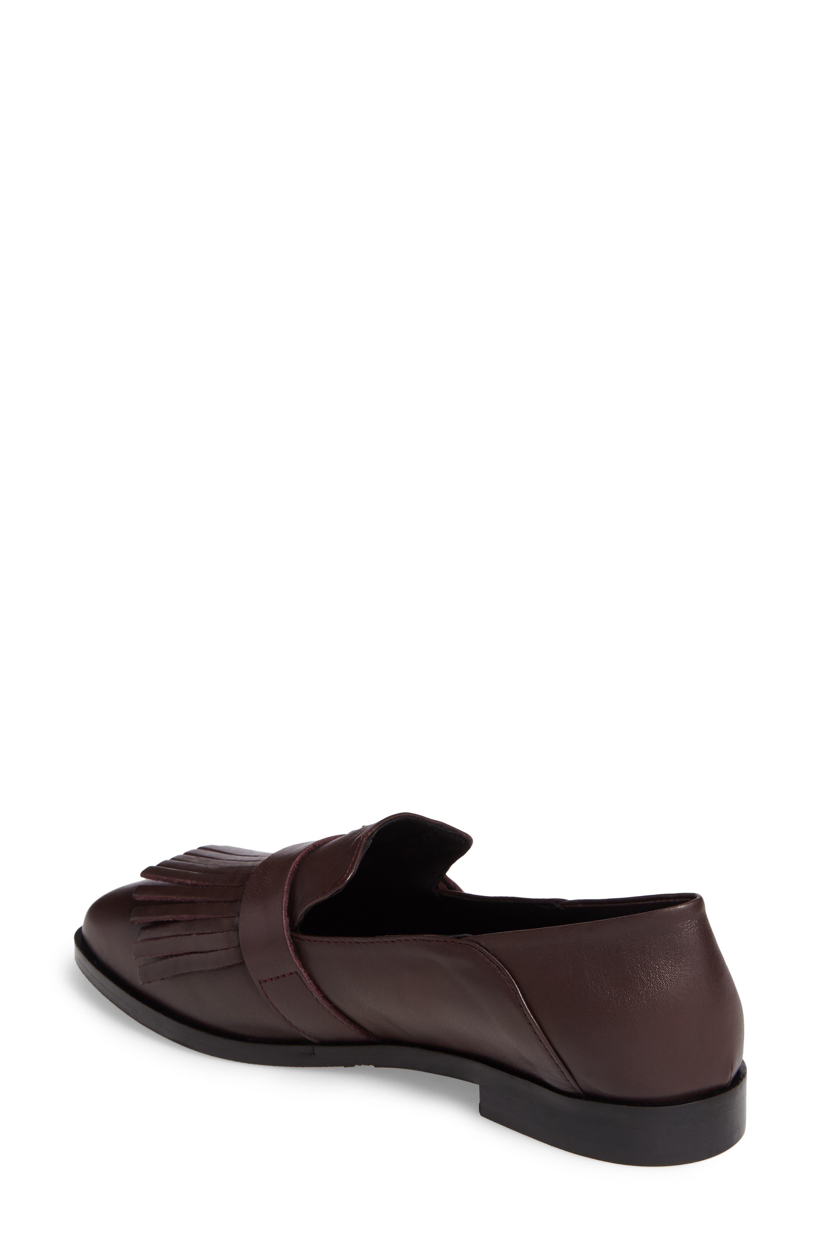 Dame Fringed Loafer Flat,                             Alternate thumbnail 2, color,                             Burgundy Leather