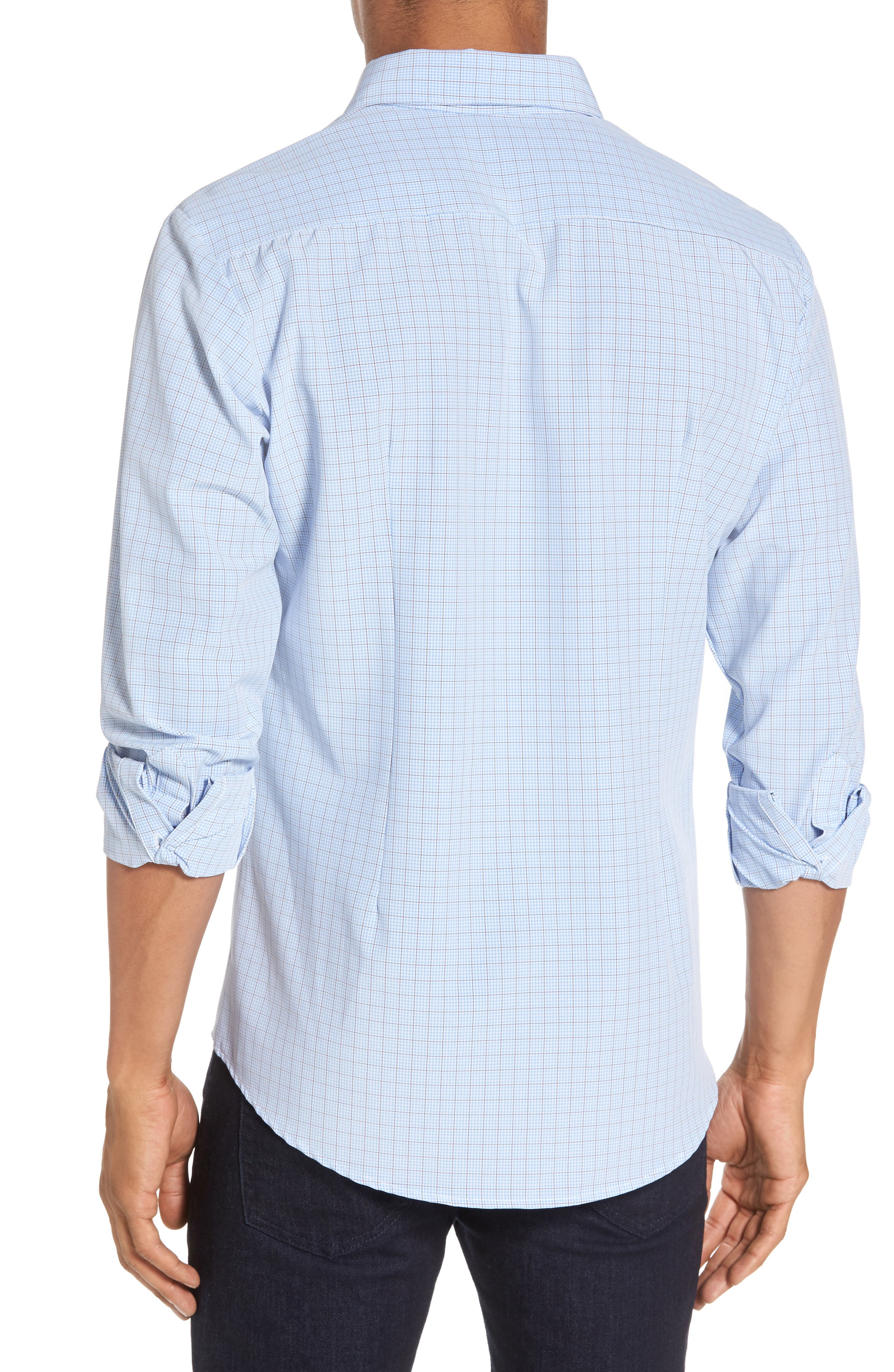 Davis Check Sport Shirt,                             Alternate thumbnail 3, color,                             Blue