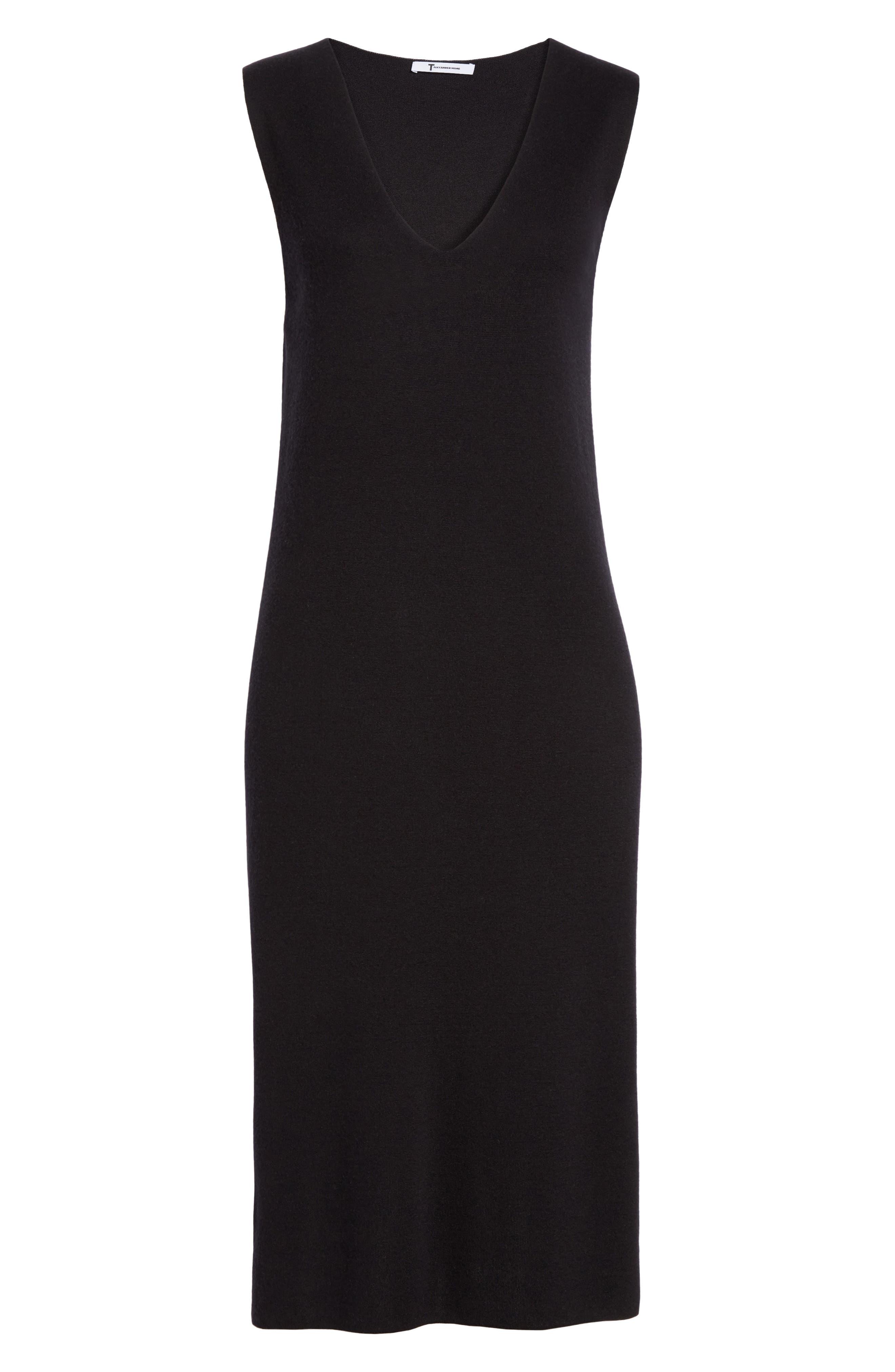 Milano Knit Midi Dress,                             Alternate thumbnail 6, color,                             Black