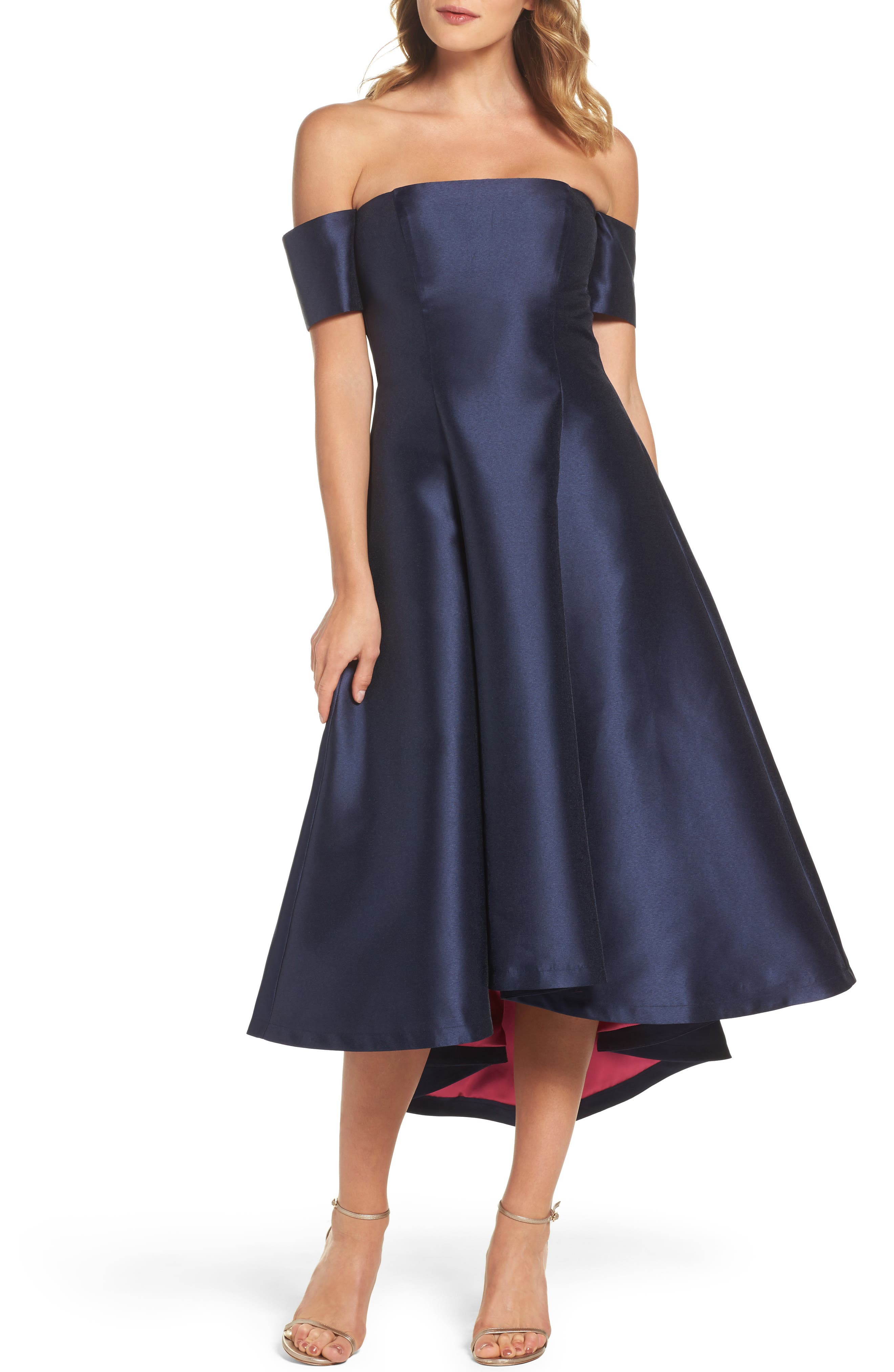 Off the Shoulder High/Low Gown,                         Main,                         color, Navy