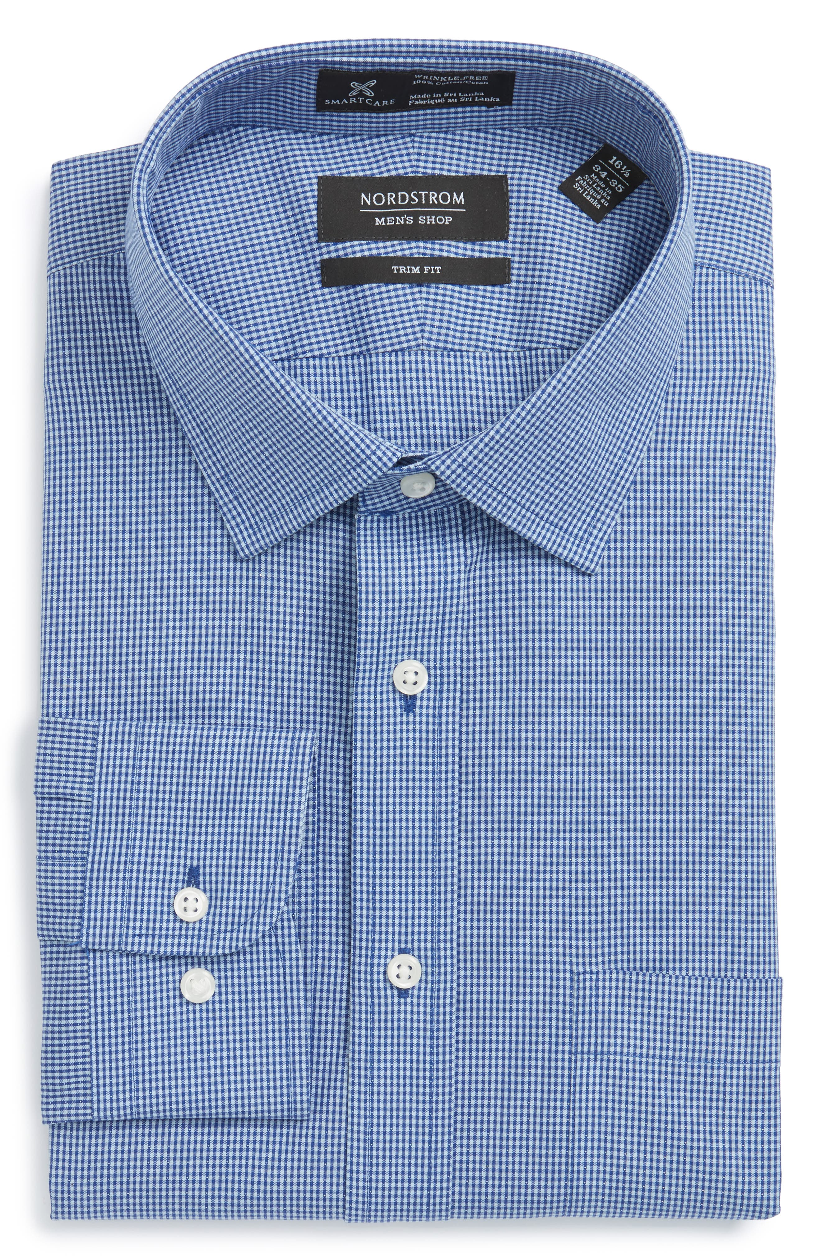 Smartcare<sup>™</sup> Trim Fit Check Dress Shirt,                             Alternate thumbnail 5, color,                             Blue Nautical