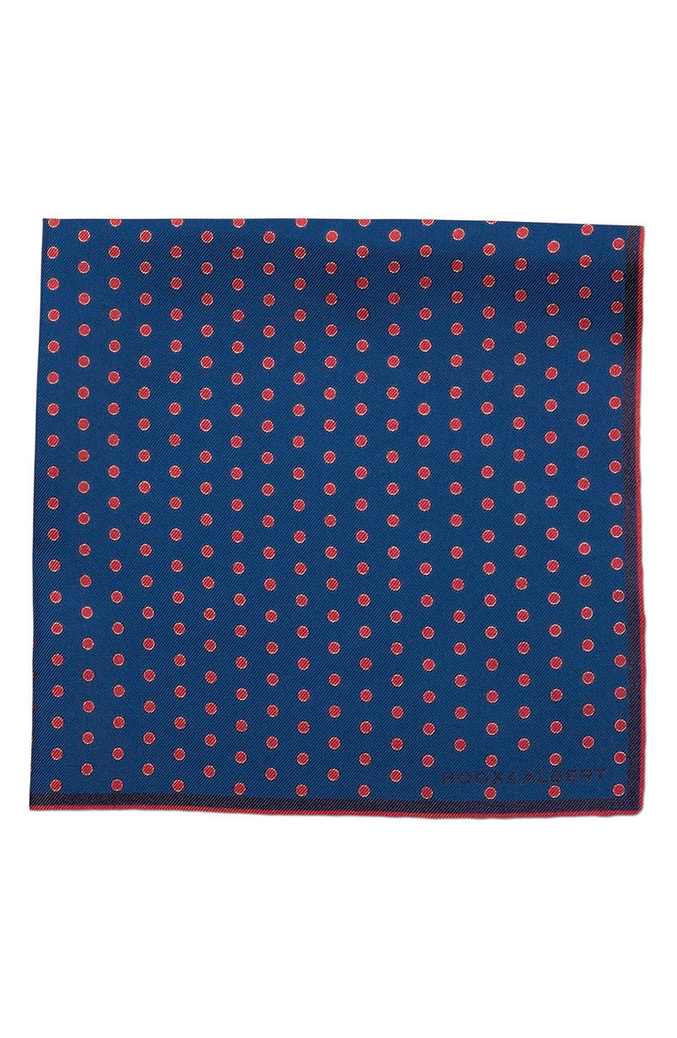 Mamba Dot Silk Pocket Square,                         Main,                         color, Blue