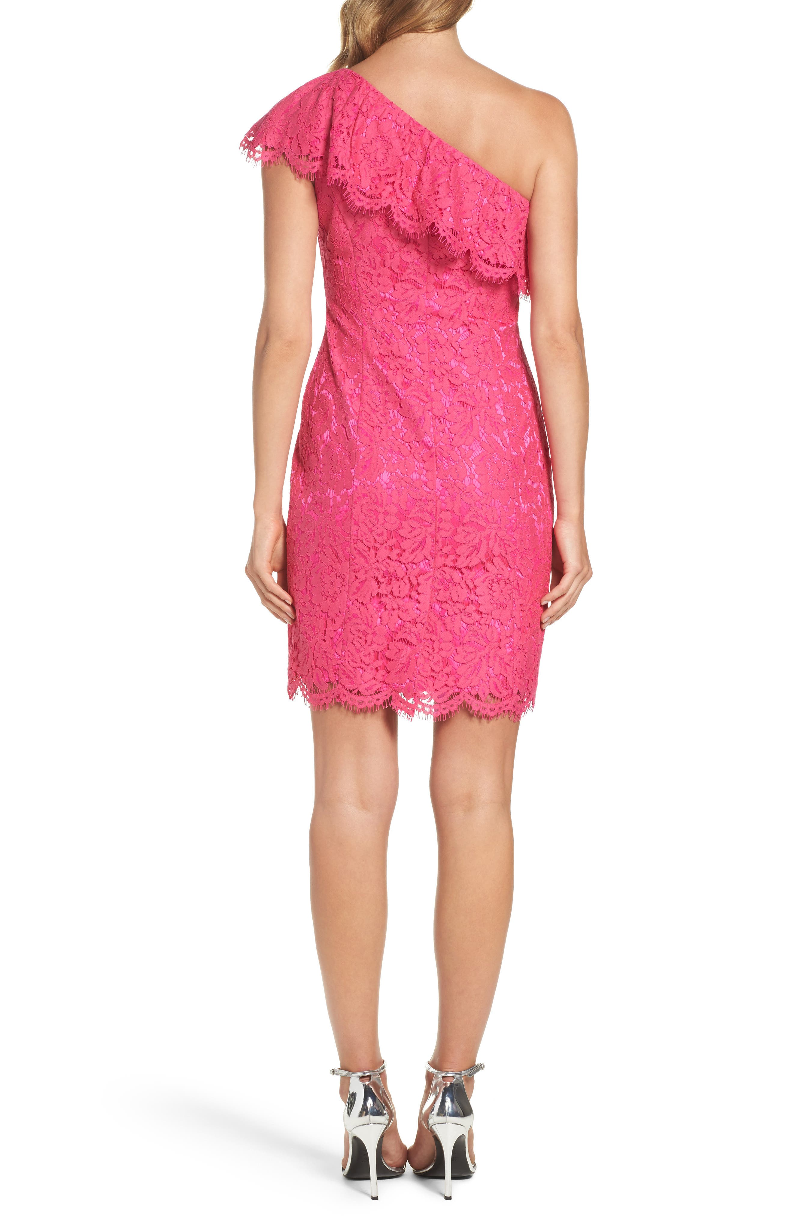 Ruffle Lace One-Shoulder Sheath Dress,                             Alternate thumbnail 2, color,                             Pink