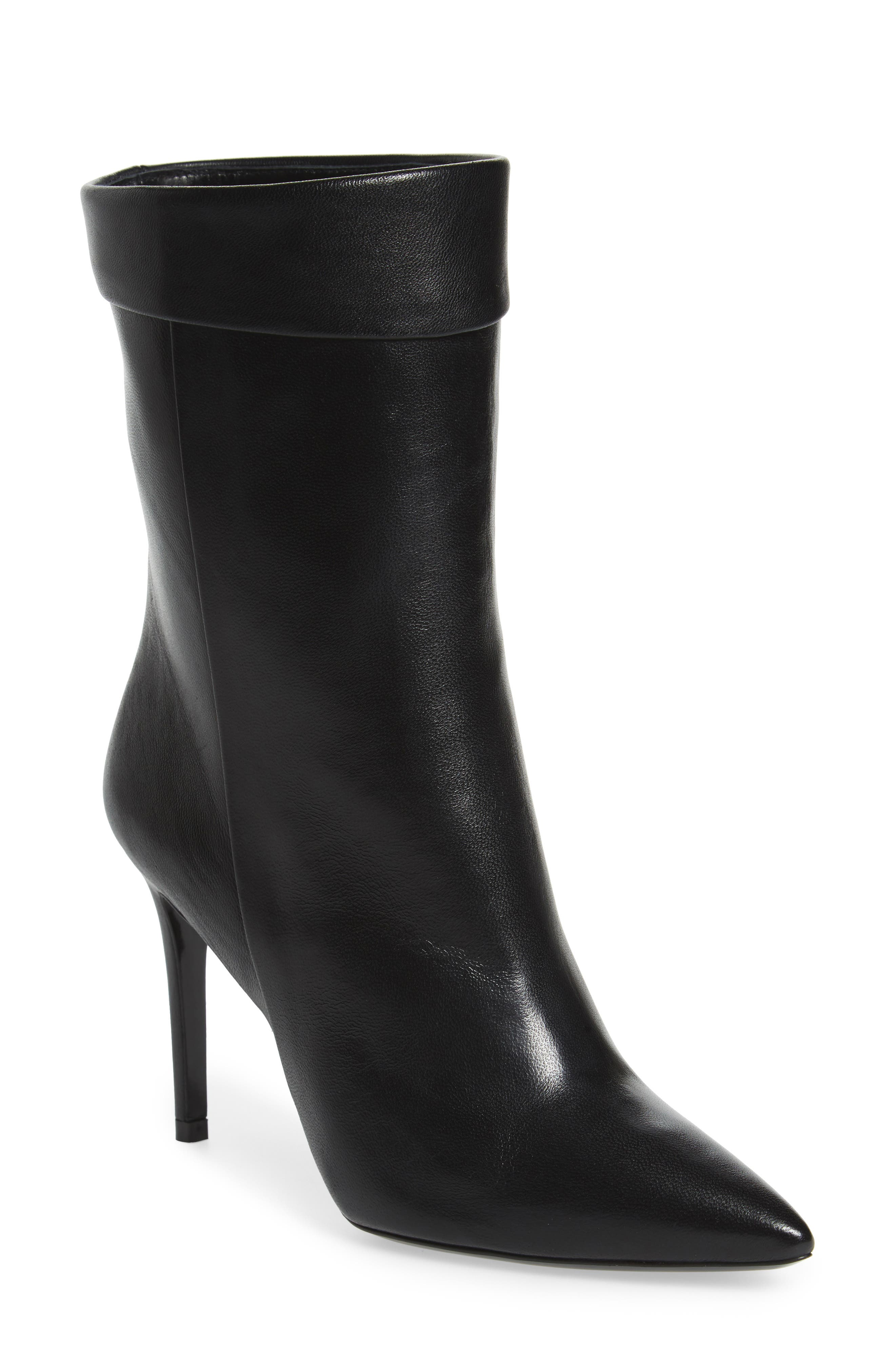 Sylvie Cuffed Pointy Toe Bootie,                             Main thumbnail 1, color,                             Black Leather